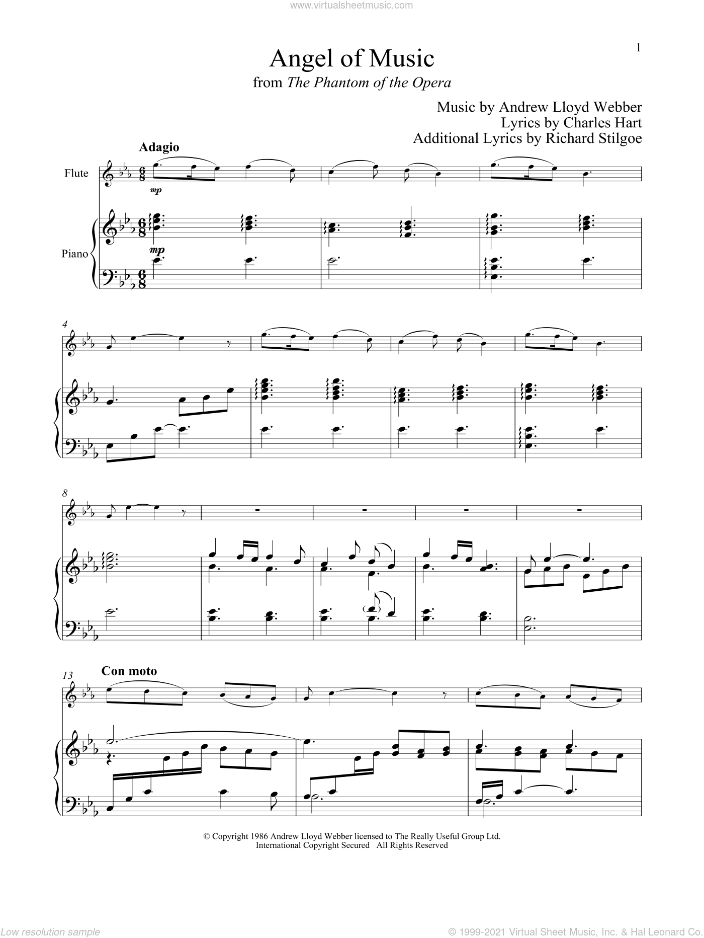 Angel Of Music (from The Phantom of The Opera) sheet music for flute and piano by Andrew Lloyd Webber, Charles Hart and Richard Stilgoe, intermediate skill level