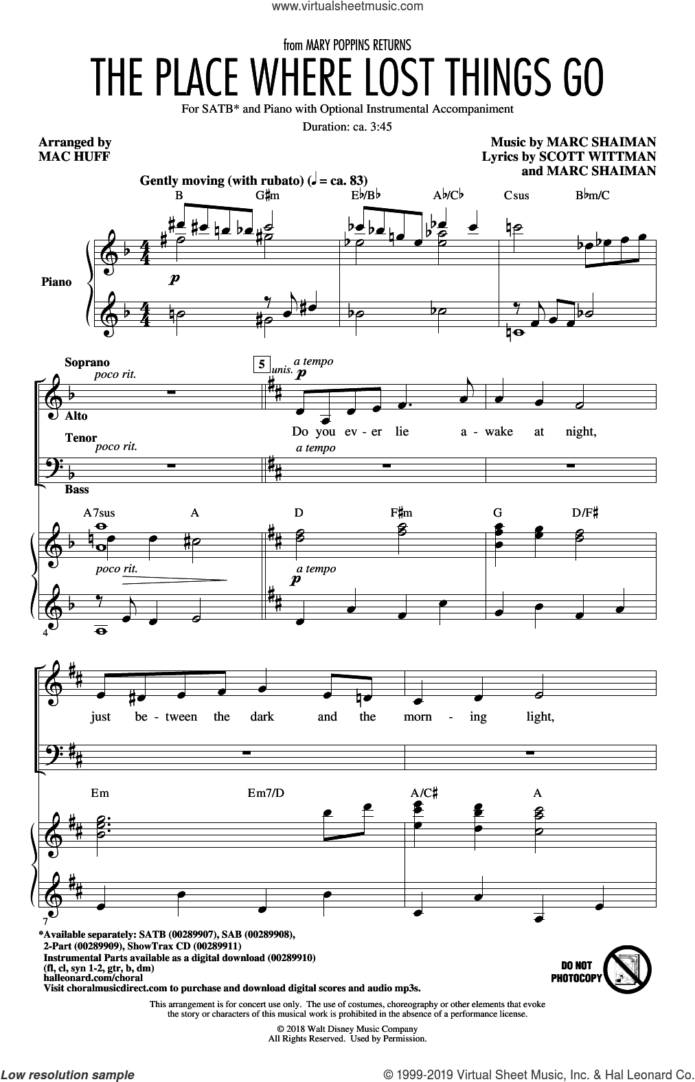 Blunt - The Place Where Lost Things Go (from Mary Poppins Returns) (arr   Mac Huff) sheet music for choir (SATB: soprano, alto, tenor, bass)