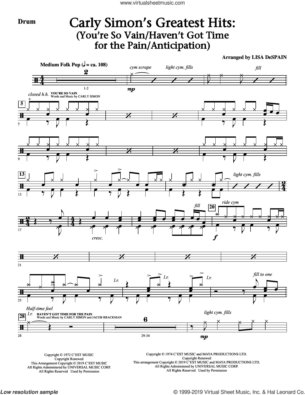 Carly Simon's Greatest Hits: A Choral Medley (arr. Lisa Despain) sheet music for orchestra/band (bass) by Carly Simon and Lisa DeSpain, intermediate skill level