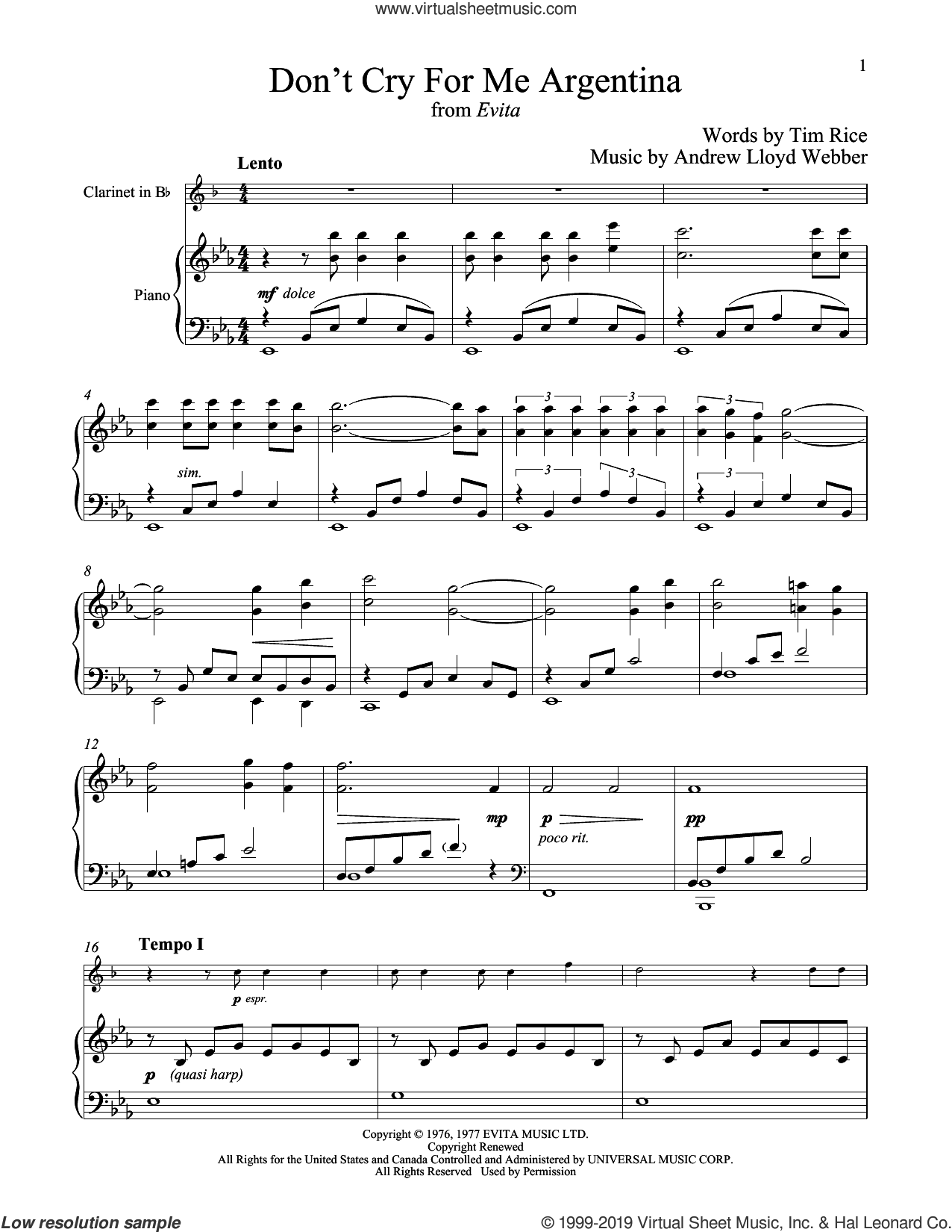 Don't Cry For Me Argentina sheet music for clarinet and piano by Andrew Lloyd Webber, Madonna and Tim Rice, intermediate skill level