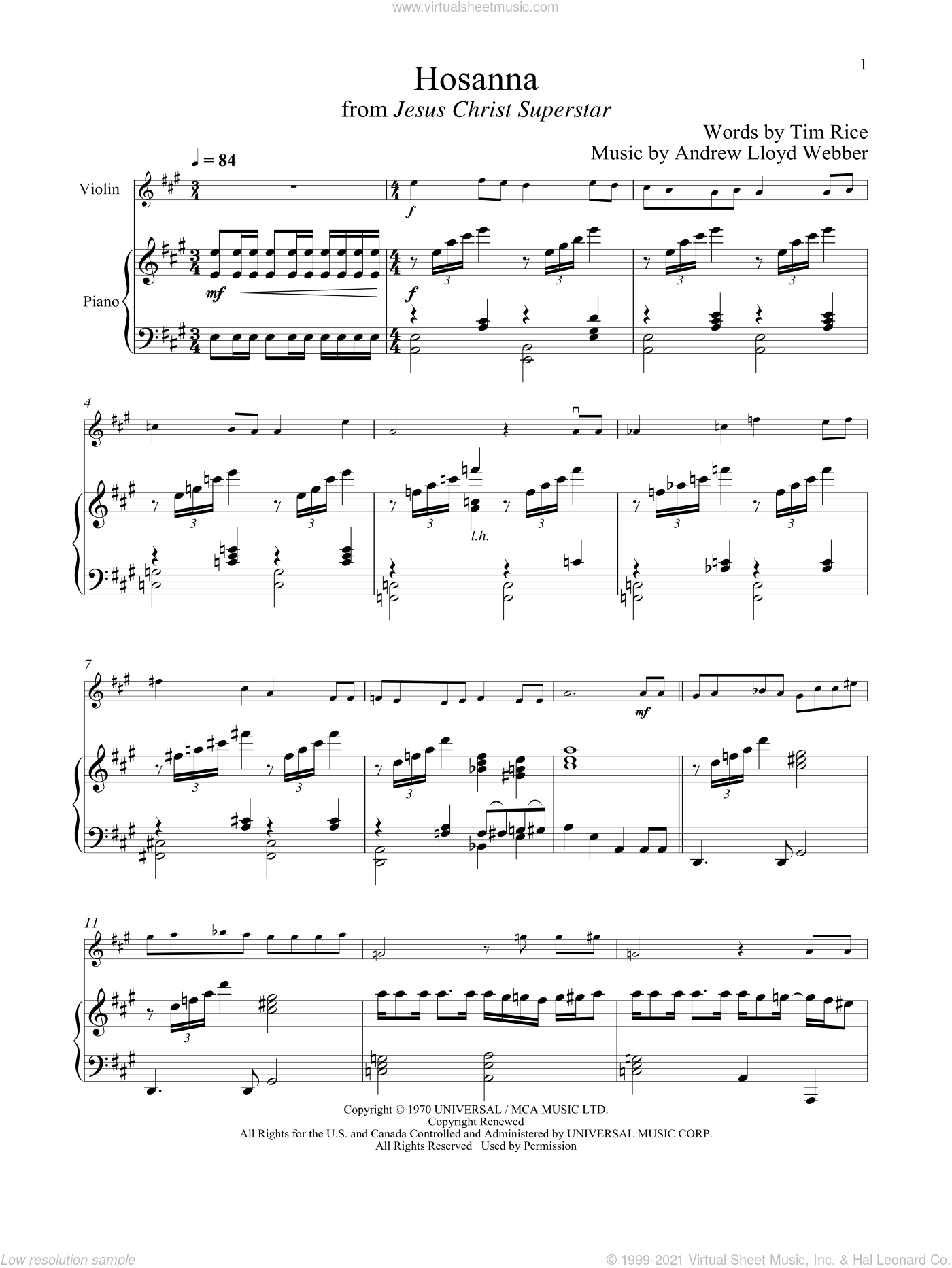 Hosanna (from Jesus Christ Superstar) sheet music for violin and piano by Andrew Lloyd Webber and Tim Rice, intermediate skill level
