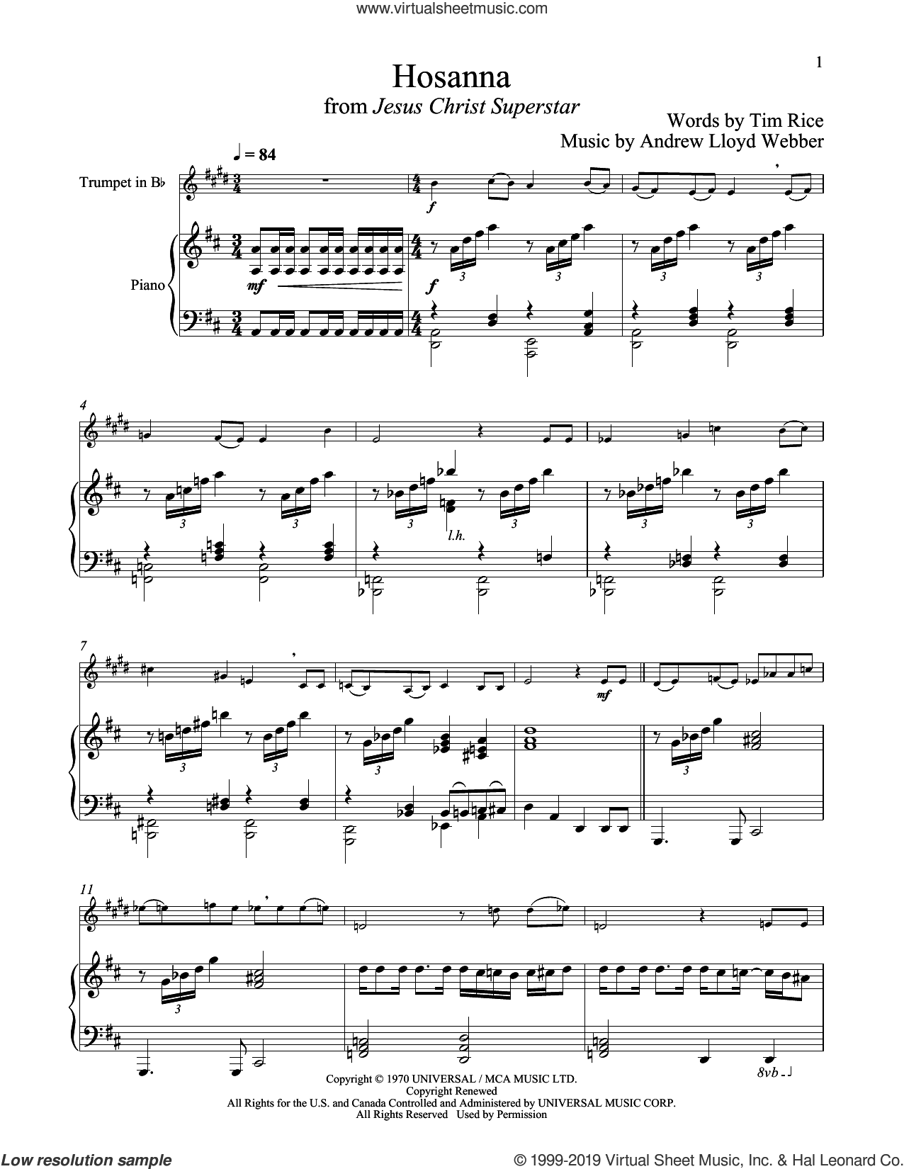 Hosanna (from Jesus Christ Superstar) sheet music for trumpet and piano by Andrew Lloyd Webber and Tim Rice, intermediate skill level
