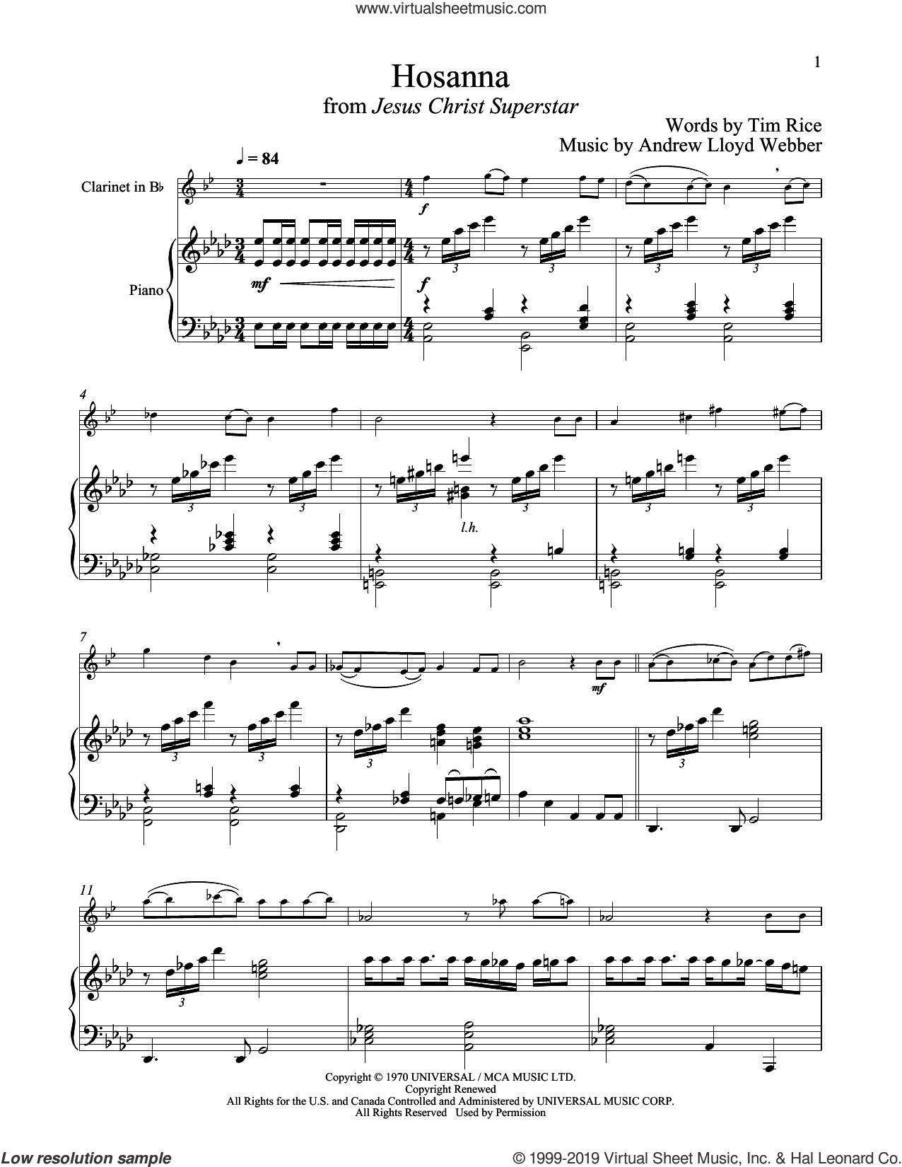 Hosanna (from Jesus Christ Superstar) sheet music for clarinet and piano by Andrew Lloyd Webber and Tim Rice, intermediate skill level