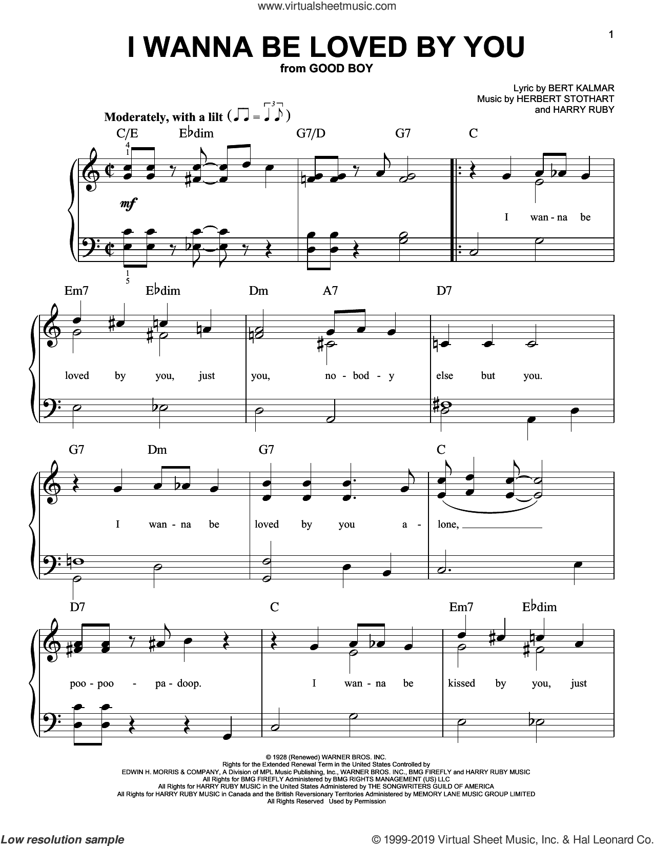 I Wanna Be Loved By You sheet music for piano solo by Herbert Stothart, Bert Kalmar and Harry Ruby, easy skill level