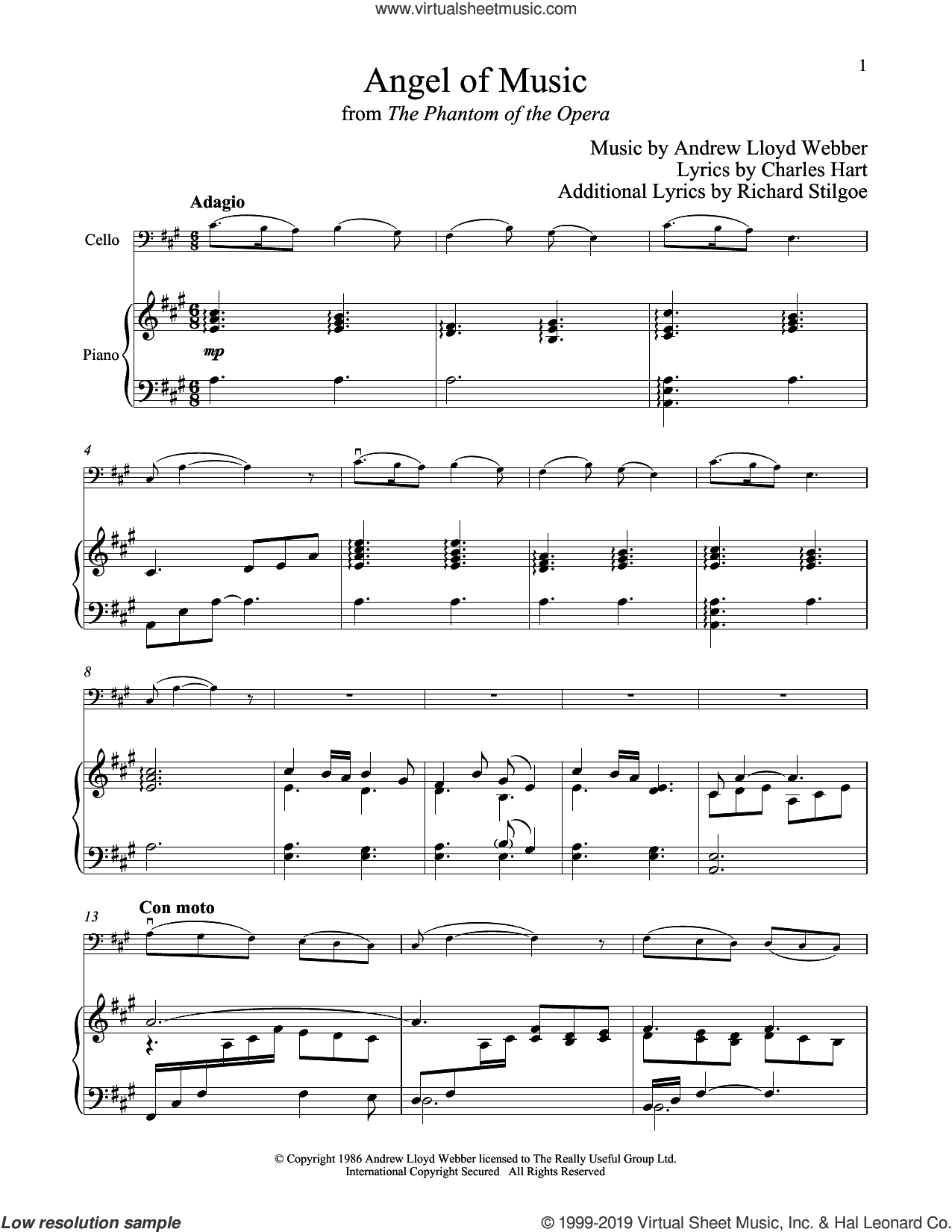 Angel Of Music (from The Phantom of The Opera) sheet music for cello and piano by Andrew Lloyd Webber, Charles Hart and Richard Stilgoe, intermediate skill level