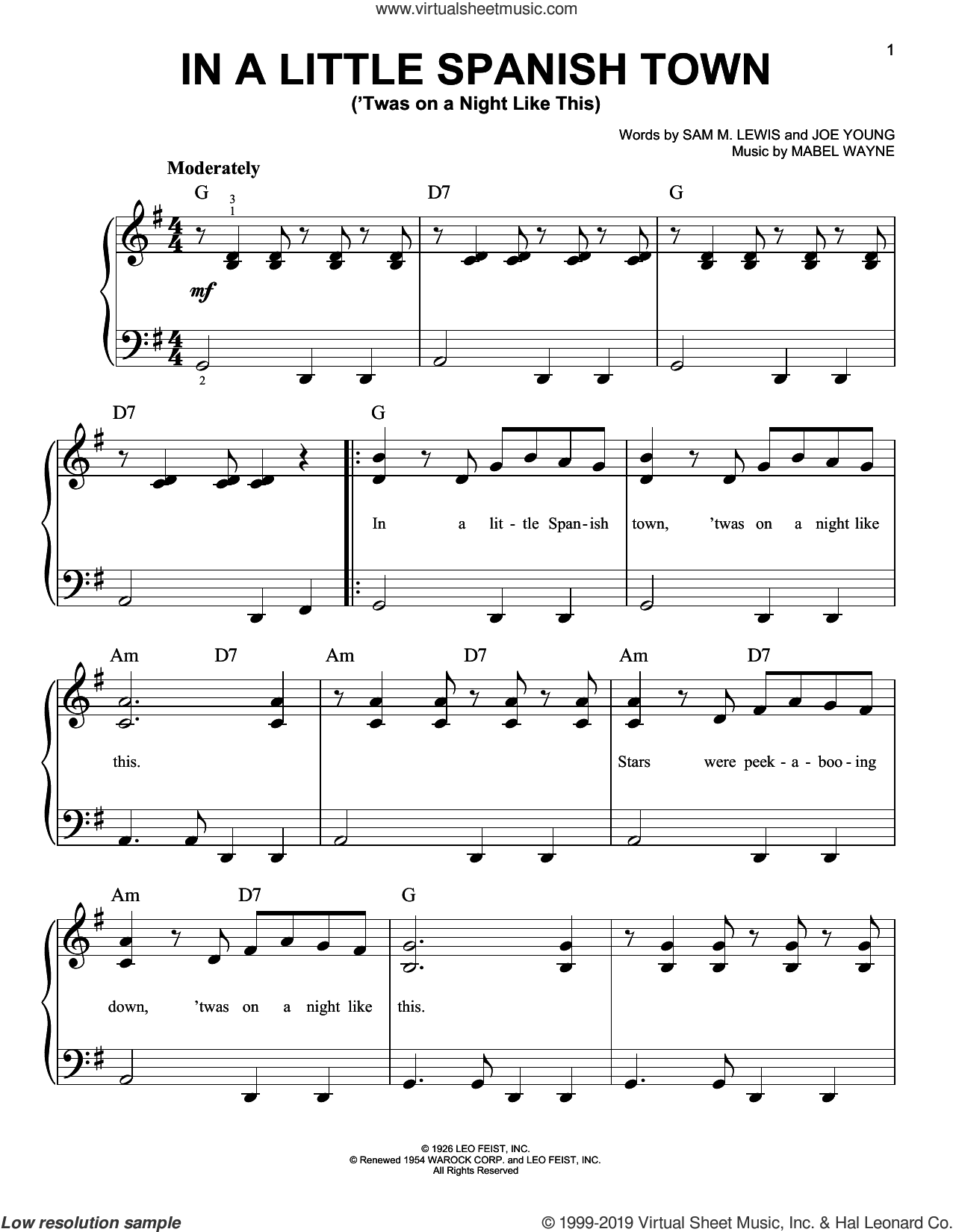 In A Little Spanish Town ('Twas On A Night Like This) sheet music for piano solo by Joe Young, Mabel Wayne and Sam Lewis, easy skill level