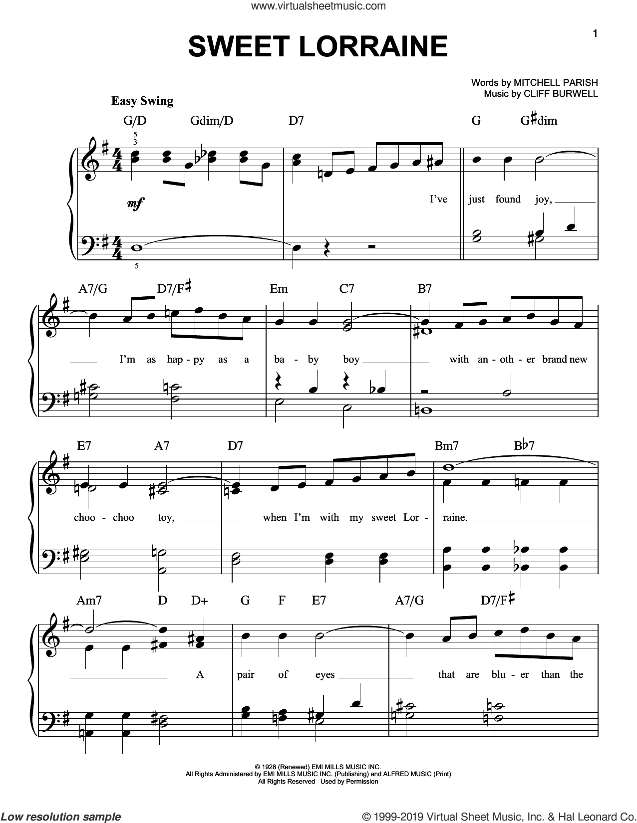 Sweet Lorraine sheet music for piano solo by Mitchell Parish and Cliff Burwell, easy skill level