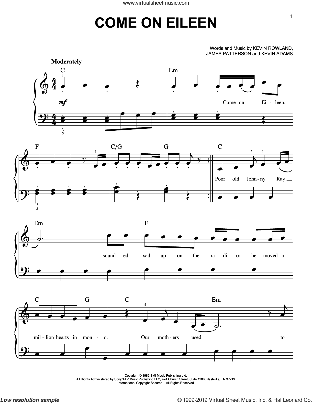 Come On Eileen sheet music for piano solo by Dexy's Midnight Runners, James Patterson, Kevin Adams and Kevin Rowland, easy skill level