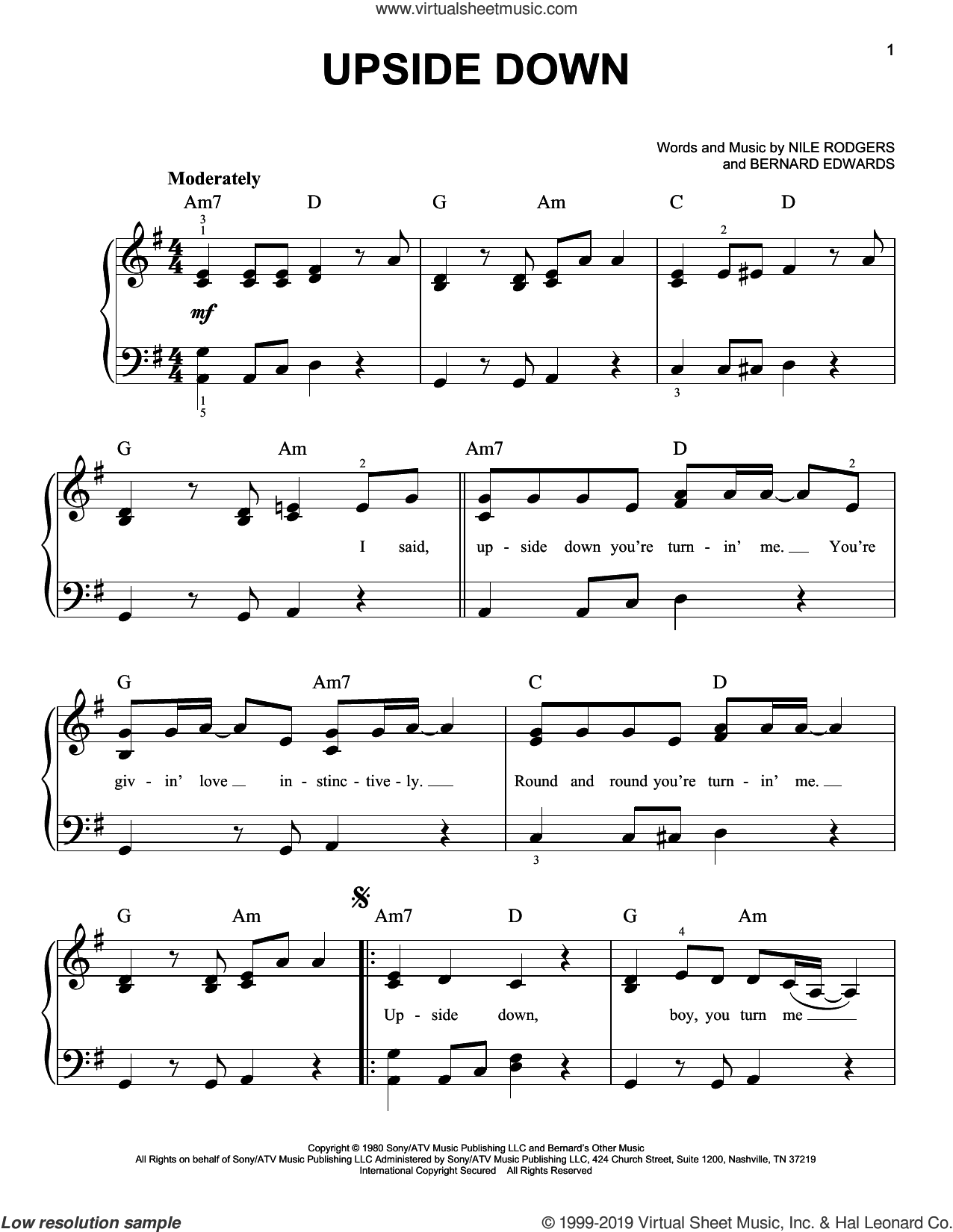Upside Down sheet music for piano solo by Diana Ross, Bernard Edwards and Nile Rodgers, easy skill level