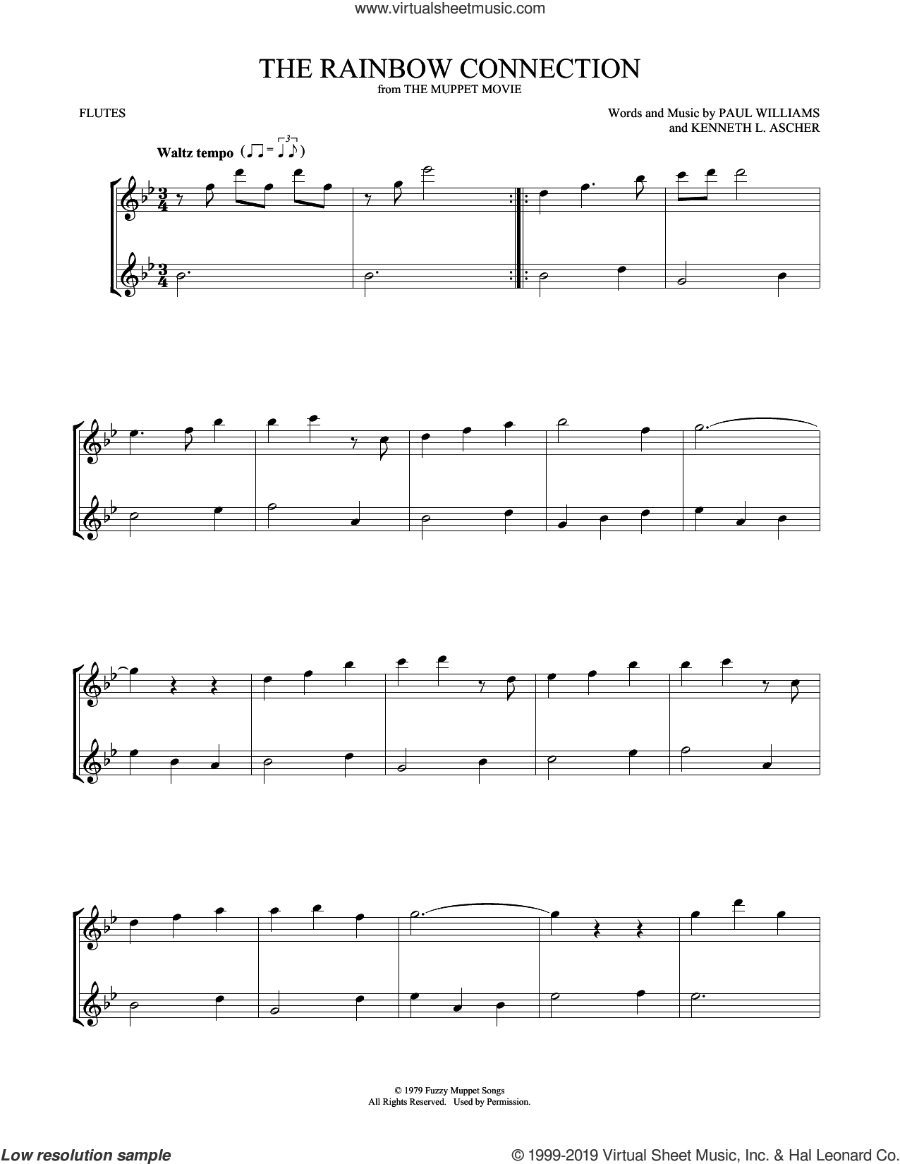 The Rainbow Connection sheet music for two flutes (duets) by Paul Williams and Kenneth L. Ascher, intermediate skill level