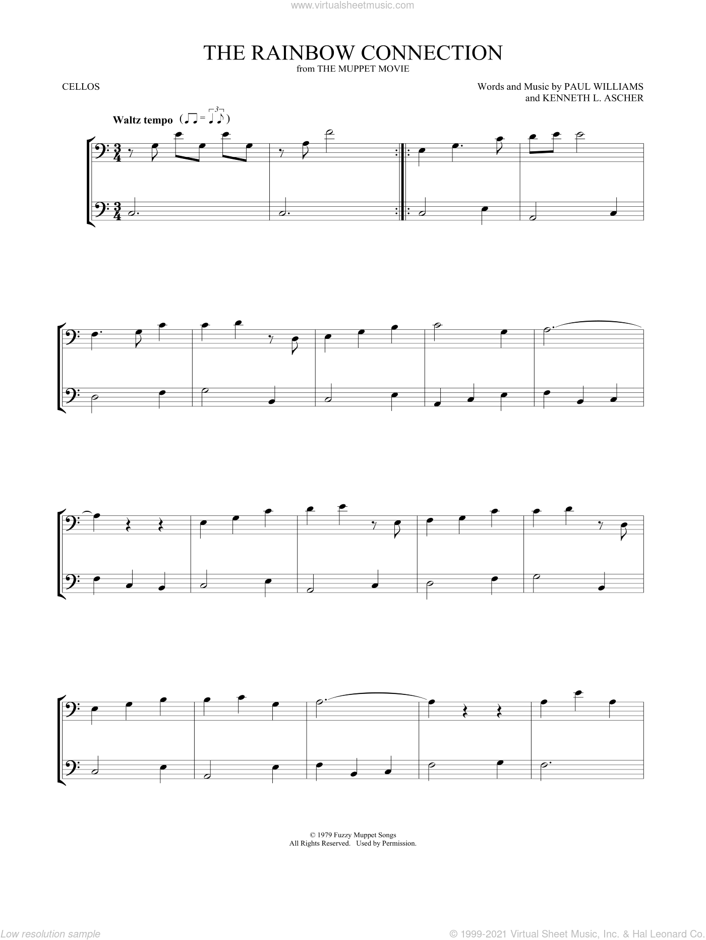 The Rainbow Connection sheet music for two cellos (duet, duets) by Paul Williams and Kenneth L. Ascher, intermediate skill level
