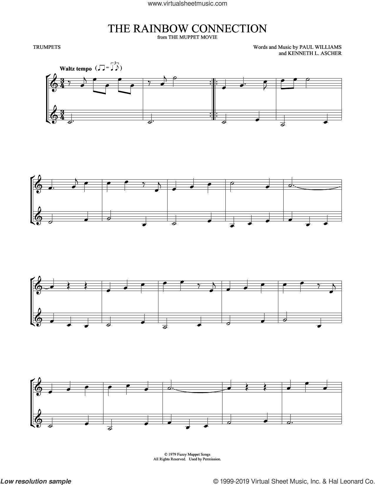The Rainbow Connection sheet music for two trumpets (duet, duets) by Paul Williams and Kenneth L. Ascher, intermediate skill level