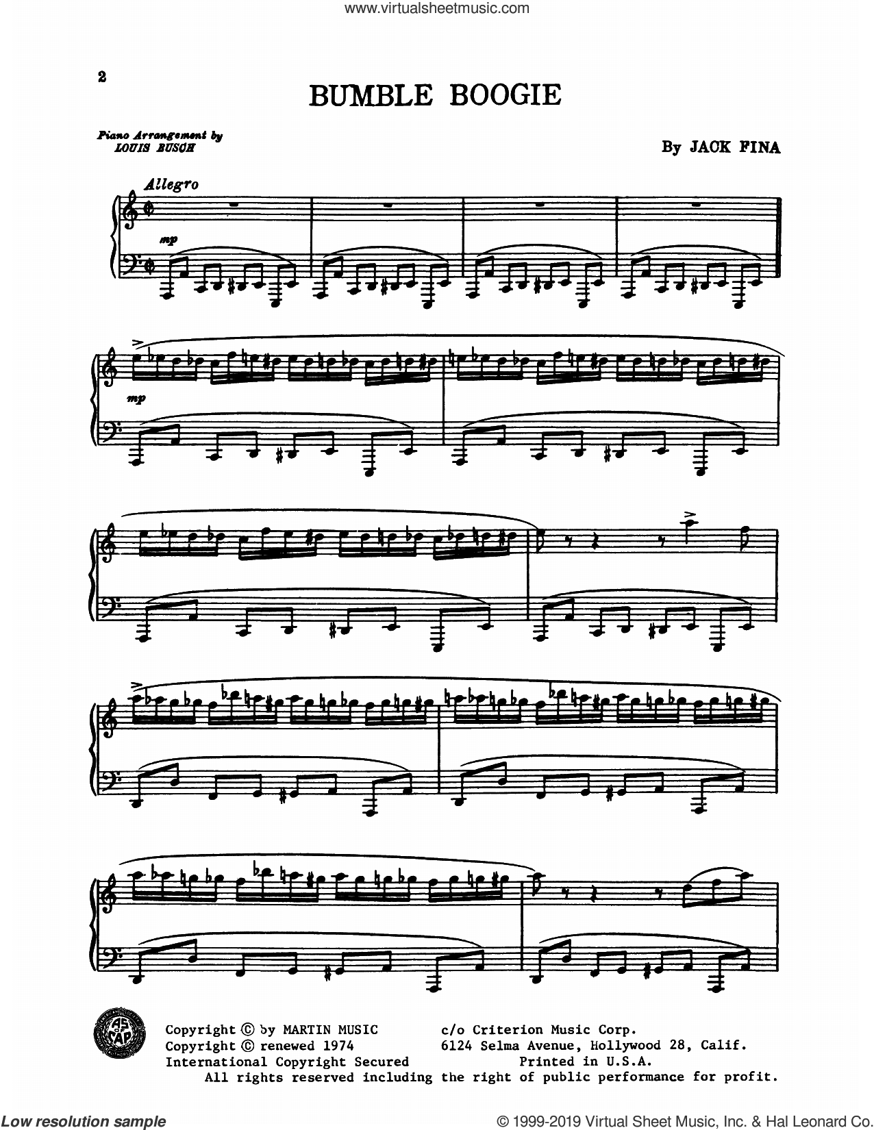 Bumble Boogie sheet music for piano solo by Freddy Martin and His Orchestra, Freddy Martin, Jack Fina and Nikolai Rimsky-Korsakov, intermediate skill level