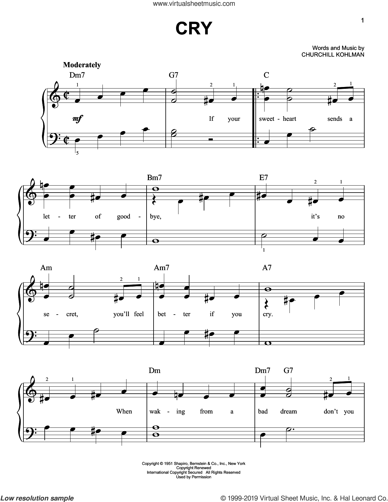Cry sheet music for piano solo by Crystal Gayle, Johnnie Ray and Churchill Kohlman, easy skill level
