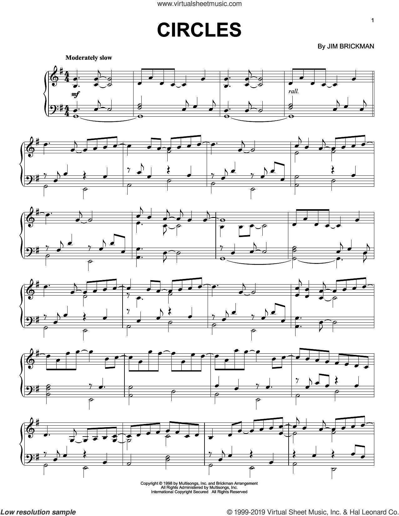 Circles sheet music for piano solo by Jim Brickman, intermediate skill level