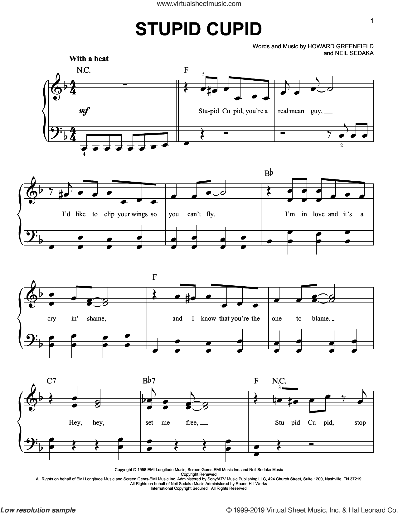 Stupid Cupid sheet music for piano solo by Connie Francis, Howard Greenfield and Neil Sedaka, easy skill level