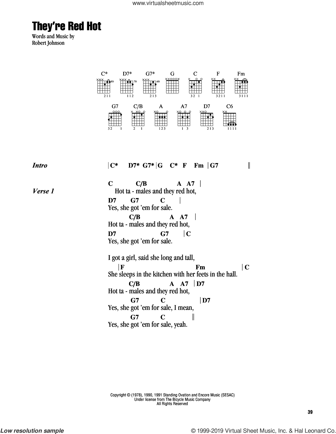 They're Red Hot sheet music for guitar (chords) by Robert Johnson, intermediate skill level