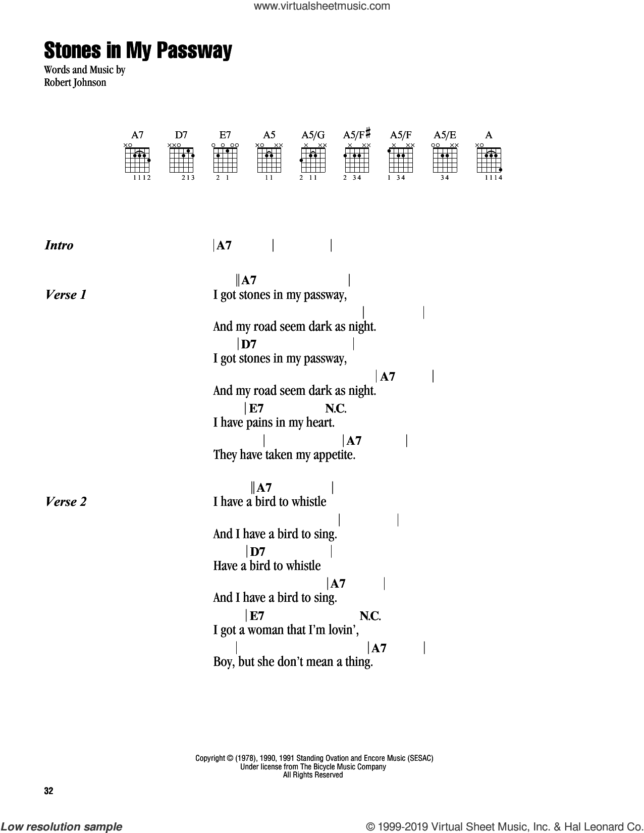 Stones In My Passway sheet music for guitar (chords) by Robert Johnson, intermediate skill level