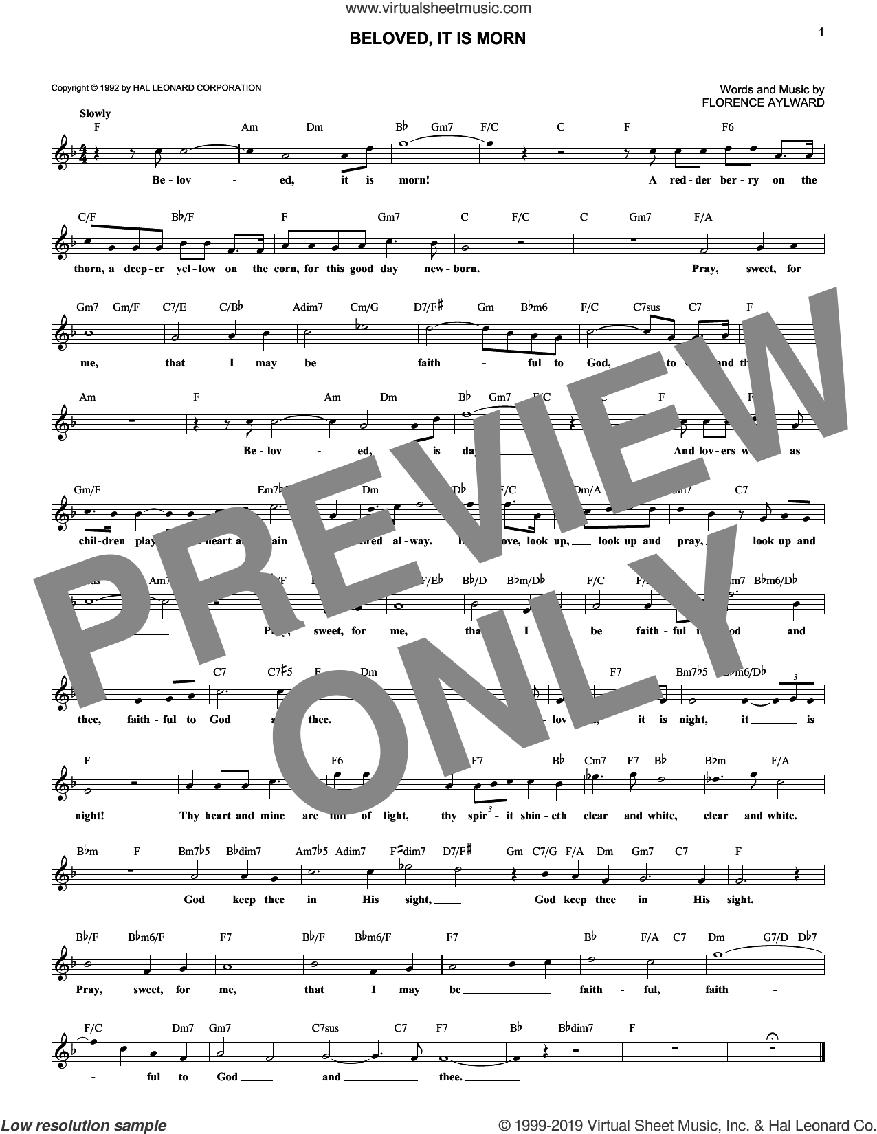 Beloved, It Is Morn sheet music for voice and other instruments (fake book) by Florence Aylward, wedding score, intermediate skill level