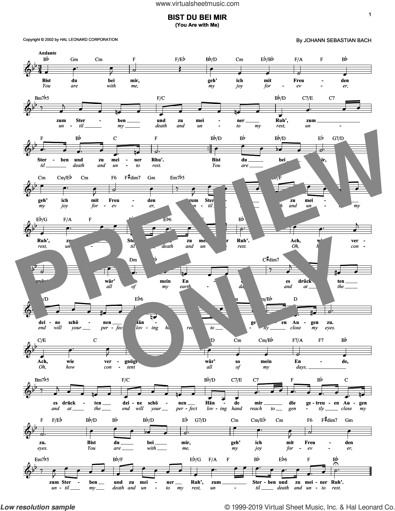 Bist du bei mir (You Are With Me) sheet music for voice and other instruments (fake book) by Johann Sebastian Bach, classical wedding score, intermediate skill level