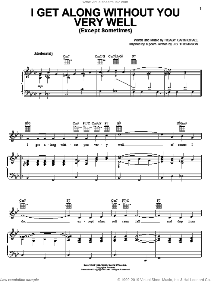 I Get Along Without You Very Well (Except Sometimes) sheet music for voice, piano or guitar by Hoagy Carmichael, Diana Krall and Frank Sinatra, intermediate skill level