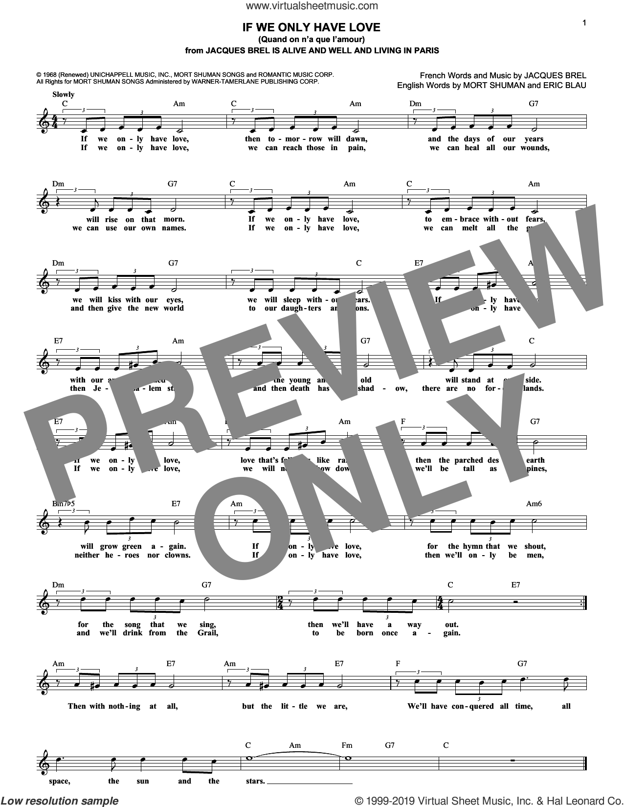 If We Only Have Love (Quand On N'a Que L'amour) sheet music for voice and other instruments (fake book) by Eric Blau, Jacques Brel and Mort Shuman, wedding score, intermediate skill level