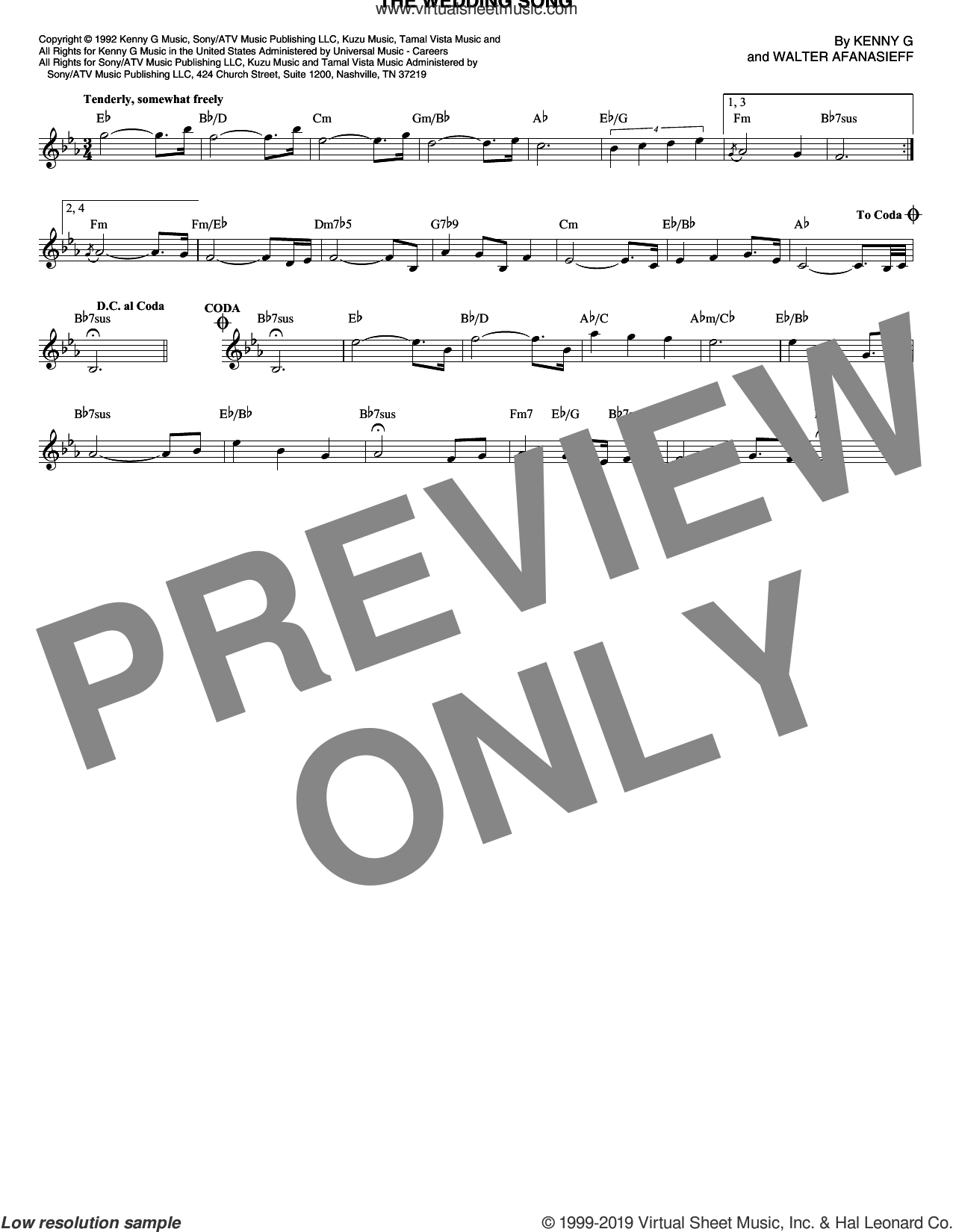 The Wedding Song sheet music for voice and other instruments (fake book) by Kenny G and Walter Afanasieff, wedding score, intermediate skill level