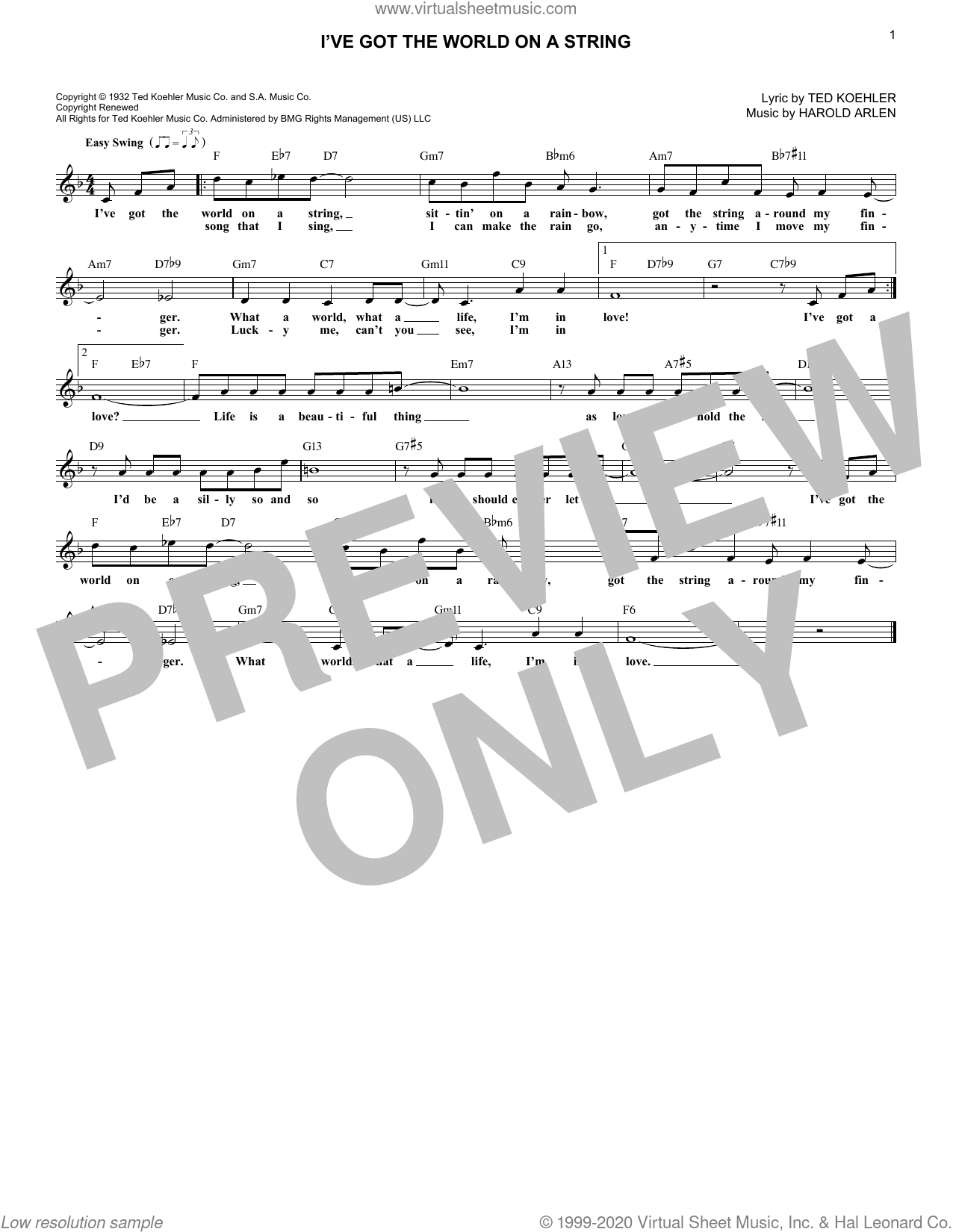 I've Got The World On A String sheet music for voice and other instruments (fake book) by Dick Hyman, Harold Arlen and Ted Koehler, wedding score, intermediate skill level