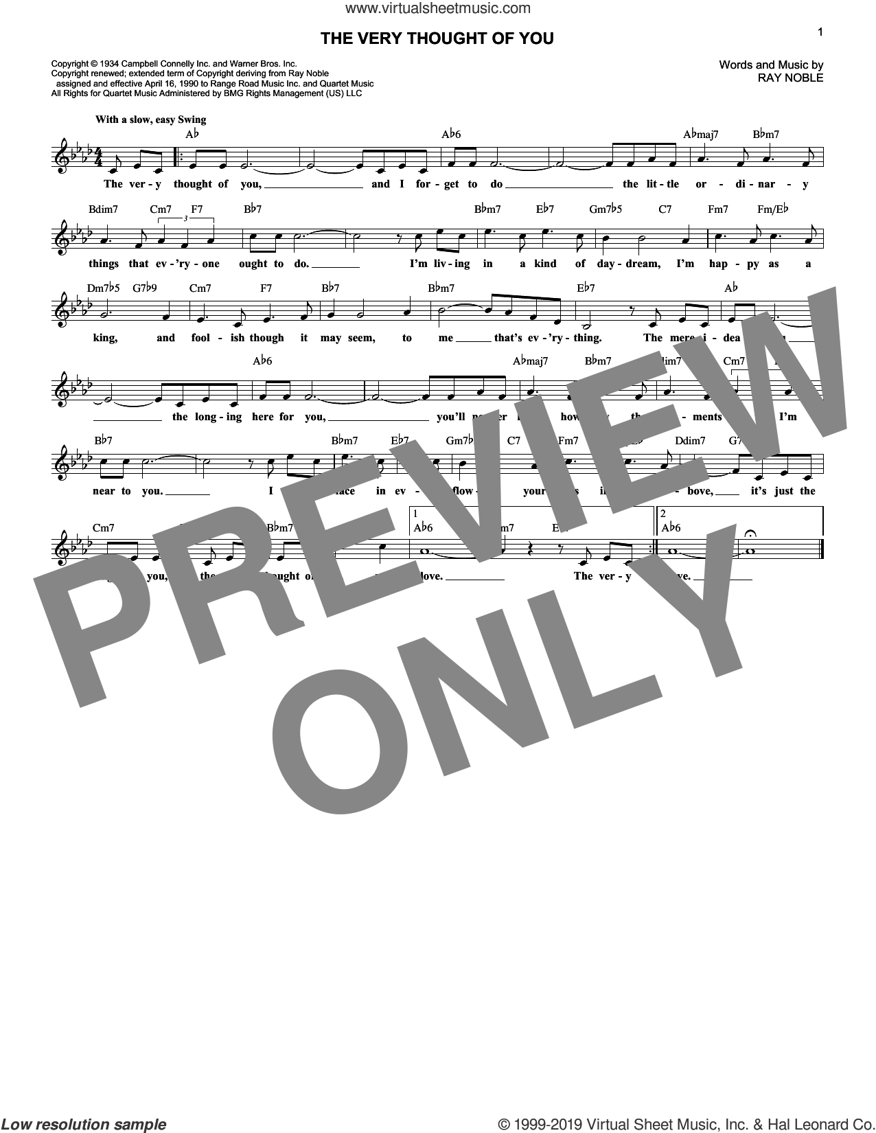 The Very Thought Of You sheet music for voice and other instruments (fake book) by Frank Sinatra, Nat King Cole, Ray Conniff, Ricky Nelson and Ray Noble, intermediate skill level