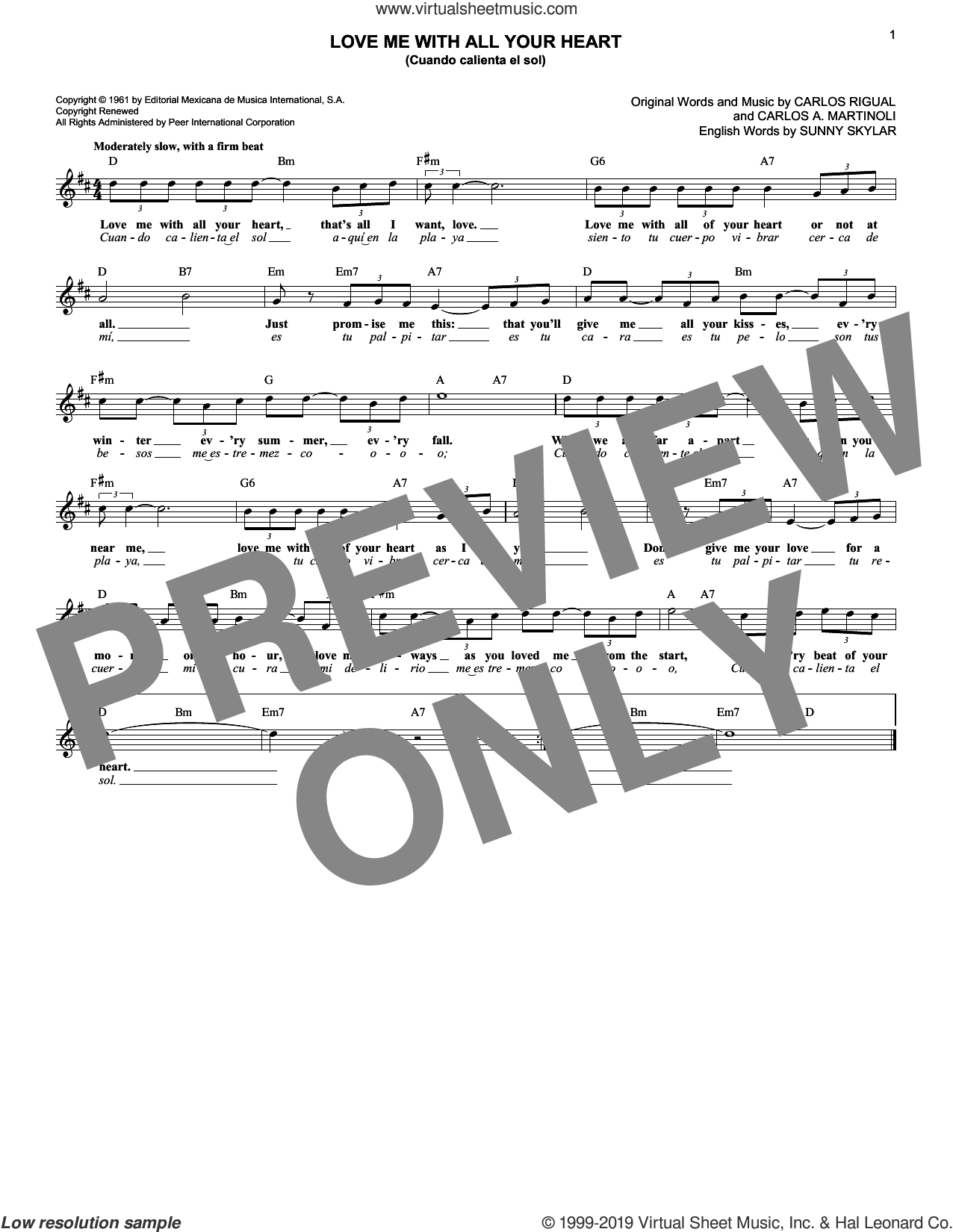 Love Me With All Your Heart (Cuando Calienta El Sol) sheet music for voice and other instruments (fake book) by Sunny Skylar, The Ray Charles Singers, Carlos A. Martinoli and Carlos Rigual, intermediate skill level