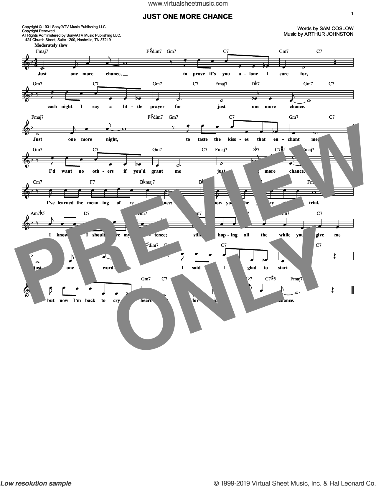 Just One More Chance sheet music for voice and other instruments (fake book) by Ruby Braff, Arthur Johnston and Sam Coslow, intermediate skill level
