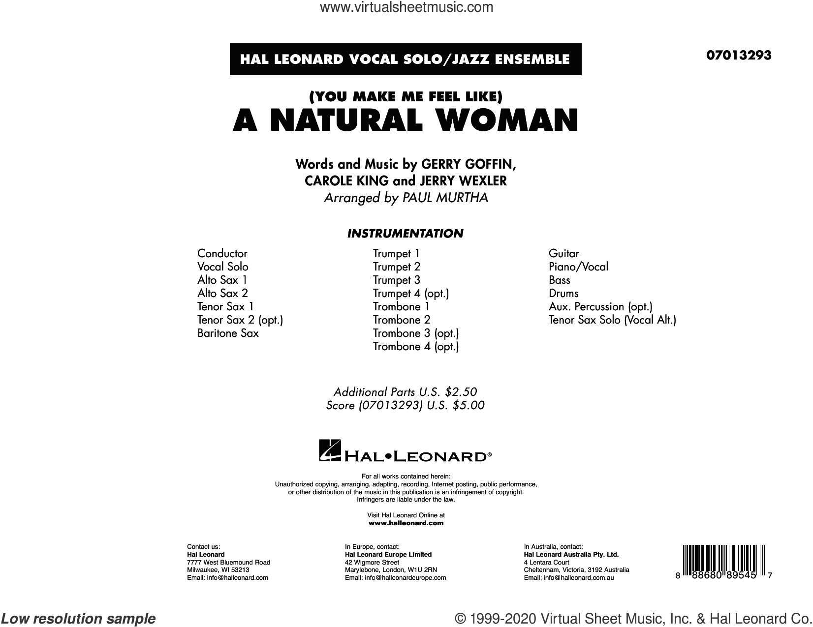 (You Make Me Feel Like) A Natural Woman (arr. Paul Murtha) (COMPLETE) sheet music for jazz band by Aretha Franklin, Gerry Goffin, Jerry Wexler and Paul Murtha, intermediate skill level
