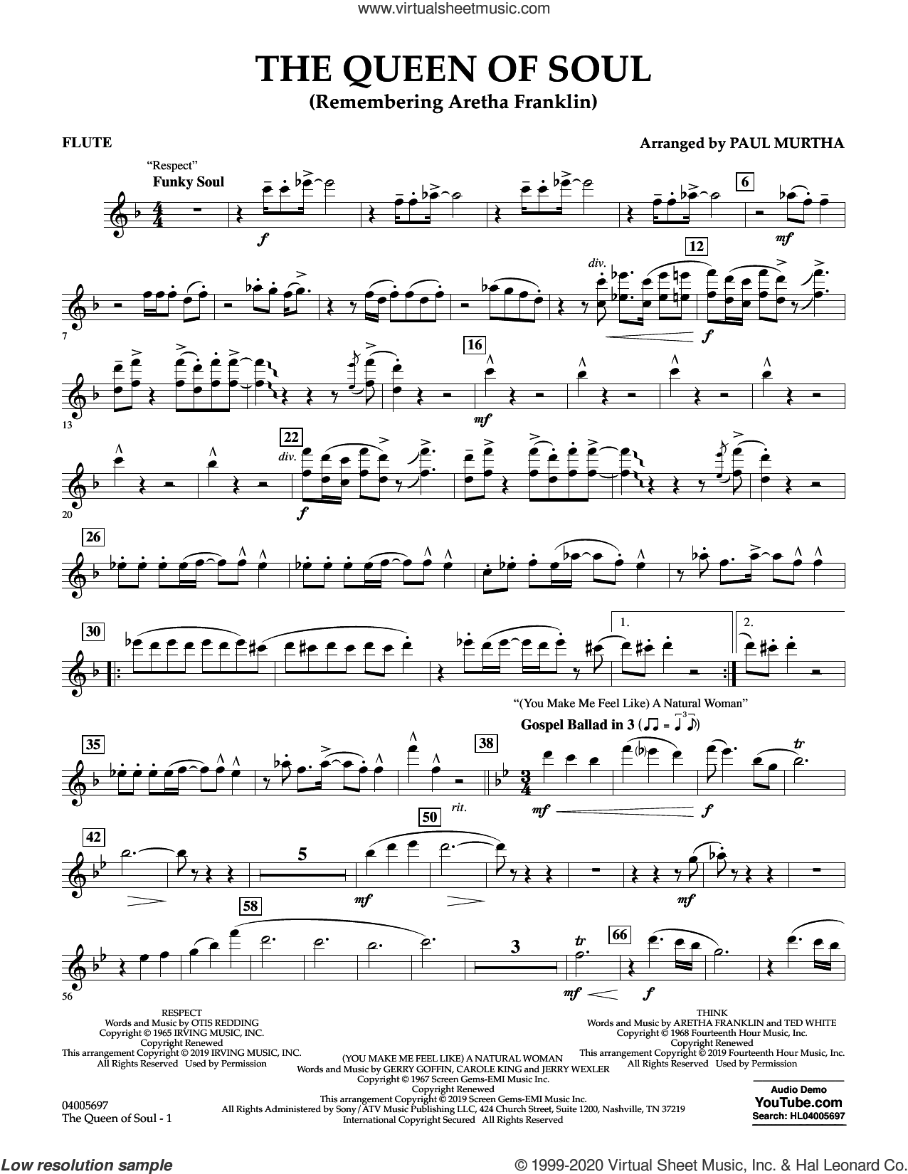 The Queen Of Soul (arr. Paul Murtha)- Conductor Score (Full Score) sheet music for concert band (flute) by Aretha Franklin and Paul Murtha, intermediate skill level