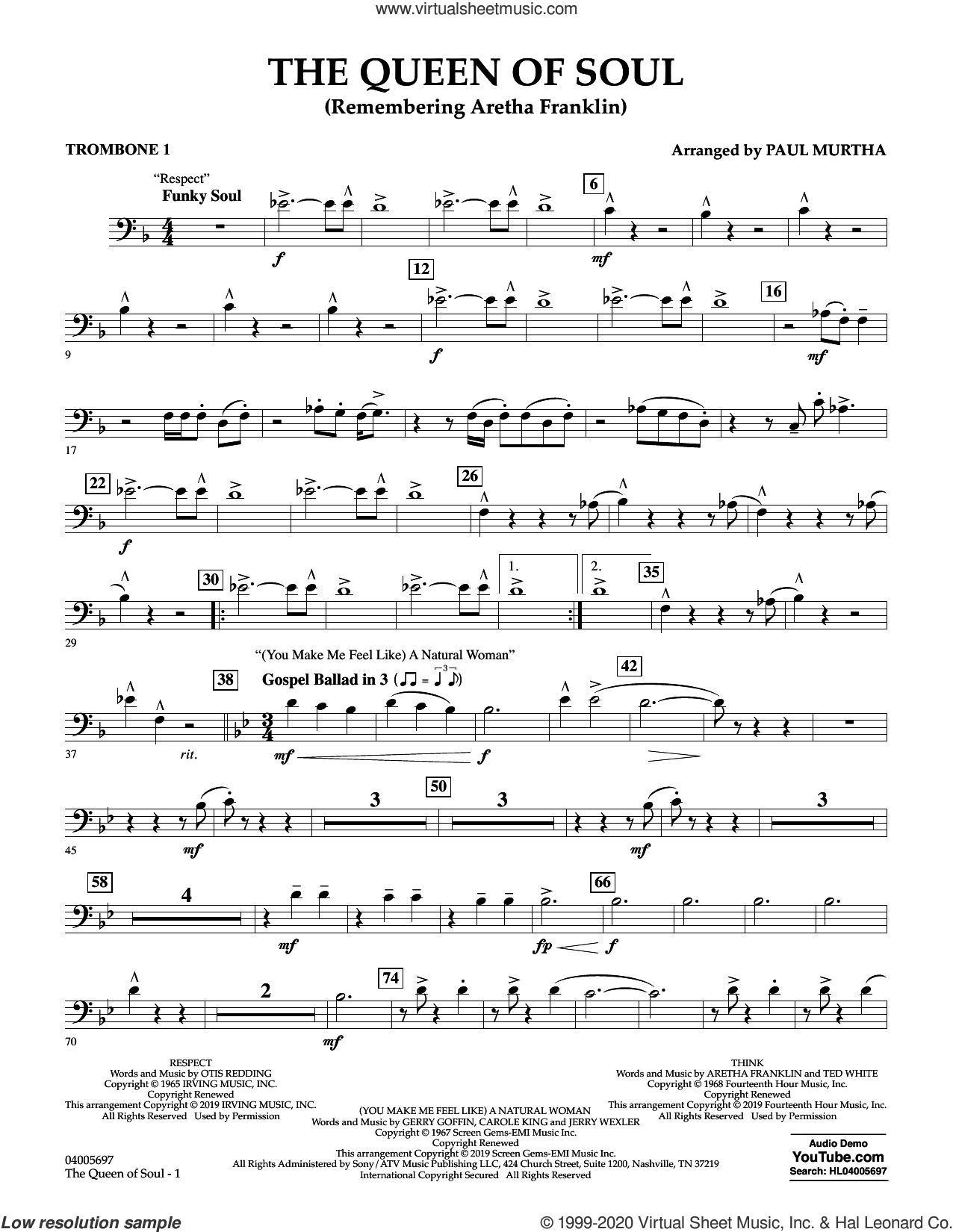 The Queen Of Soul (arr. Paul Murtha)- Conductor Score (Full Score) sheet music for concert band (trombone 1) by Aretha Franklin and Paul Murtha, intermediate skill level