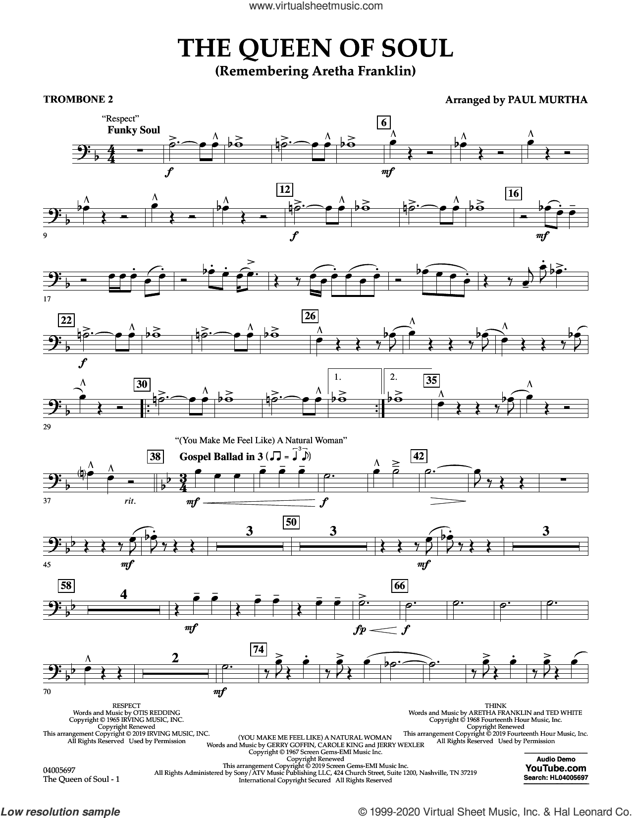The Queen Of Soul (arr. Paul Murtha)- Conductor Score (Full Score) sheet music for concert band (trombone 2) by Aretha Franklin and Paul Murtha, intermediate skill level