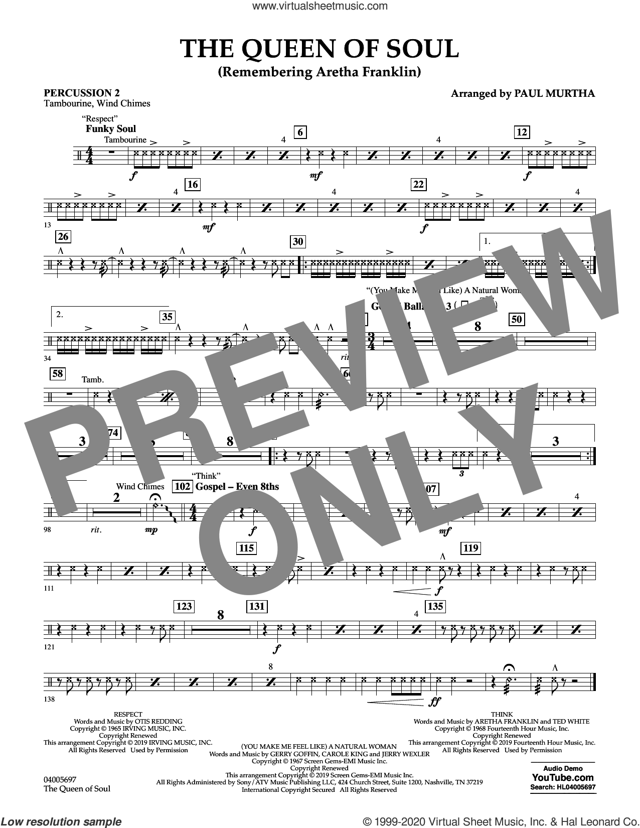 The Queen Of Soul (arr. Paul Murtha)- Conductor Score (Full Score) sheet music for concert band (percussion 2) by Aretha Franklin and Paul Murtha, intermediate skill level