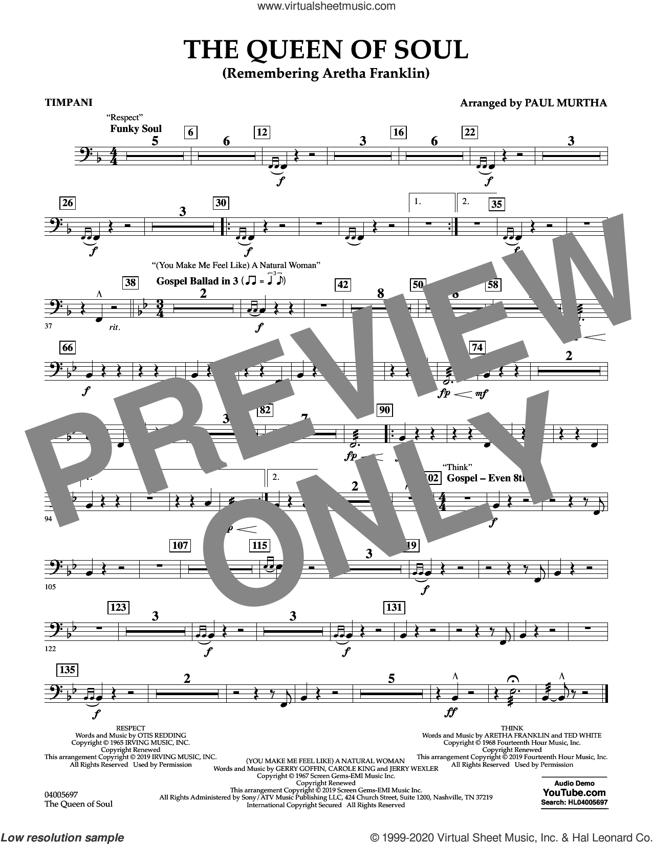 The Queen Of Soul (arr. Paul Murtha)- Conductor Score (Full Score) sheet music for concert band (timpani) by Aretha Franklin and Paul Murtha, intermediate skill level