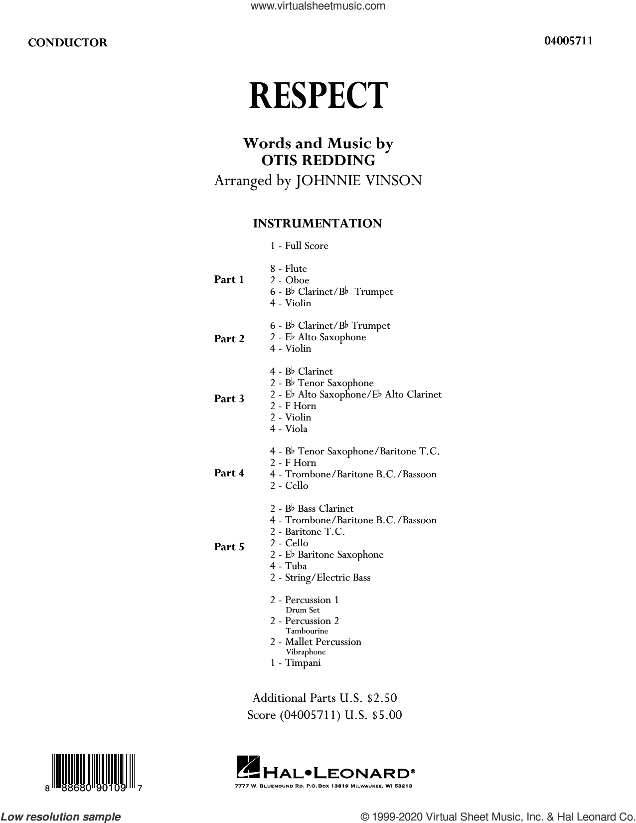 Respect (arr. Johnnie Vinson) (COMPLETE) sheet music for concert band by Aretha Franklin, Johnnie Vinson and Otis Redding, intermediate skill level