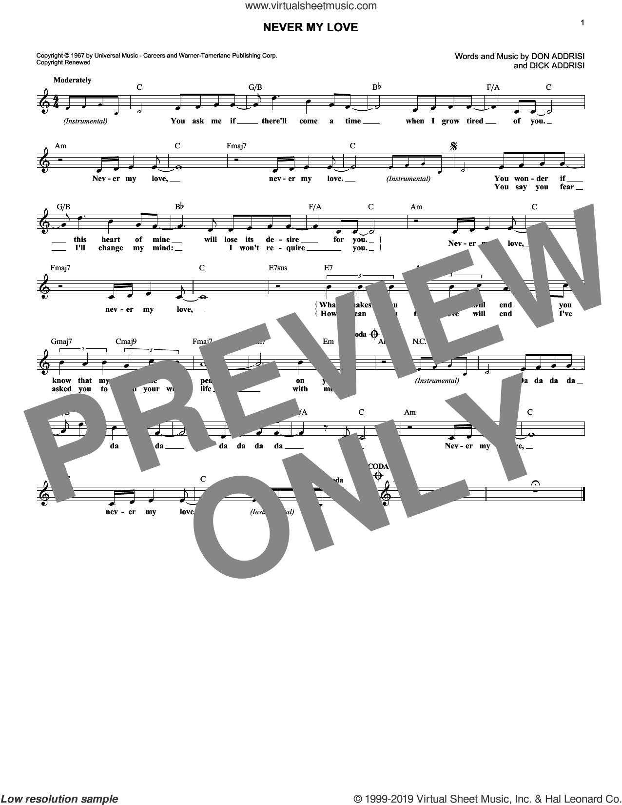 Never My Love sheet music for voice and other instruments (fake book) by Don Addrisi, Blue Swede, The Association, The Fifth Dimension and Dick Addrisi, wedding score, intermediate skill level