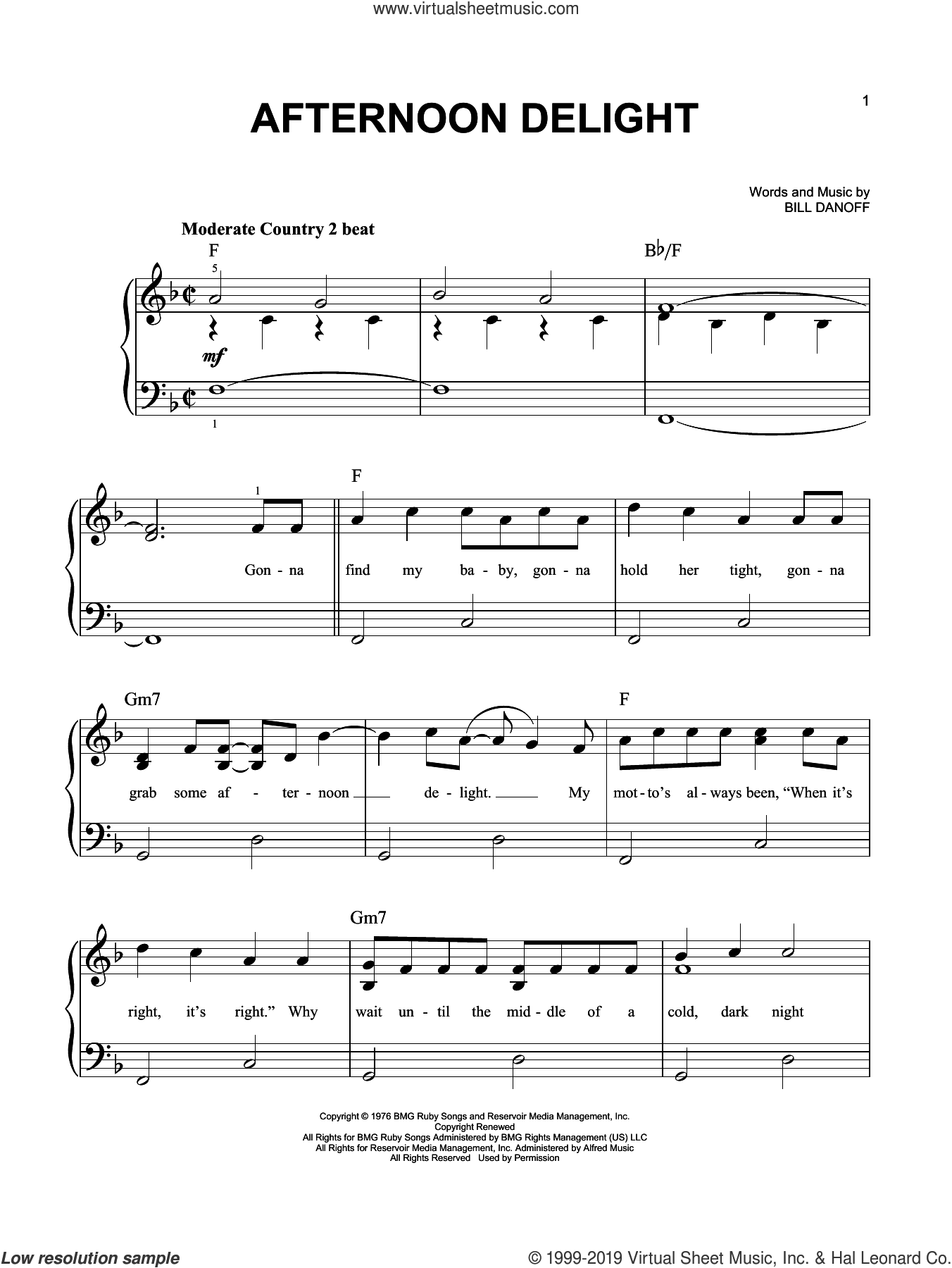 Afternoon Delight sheet music for piano solo by Starland Vocal Band and Bill Danoff, easy skill level