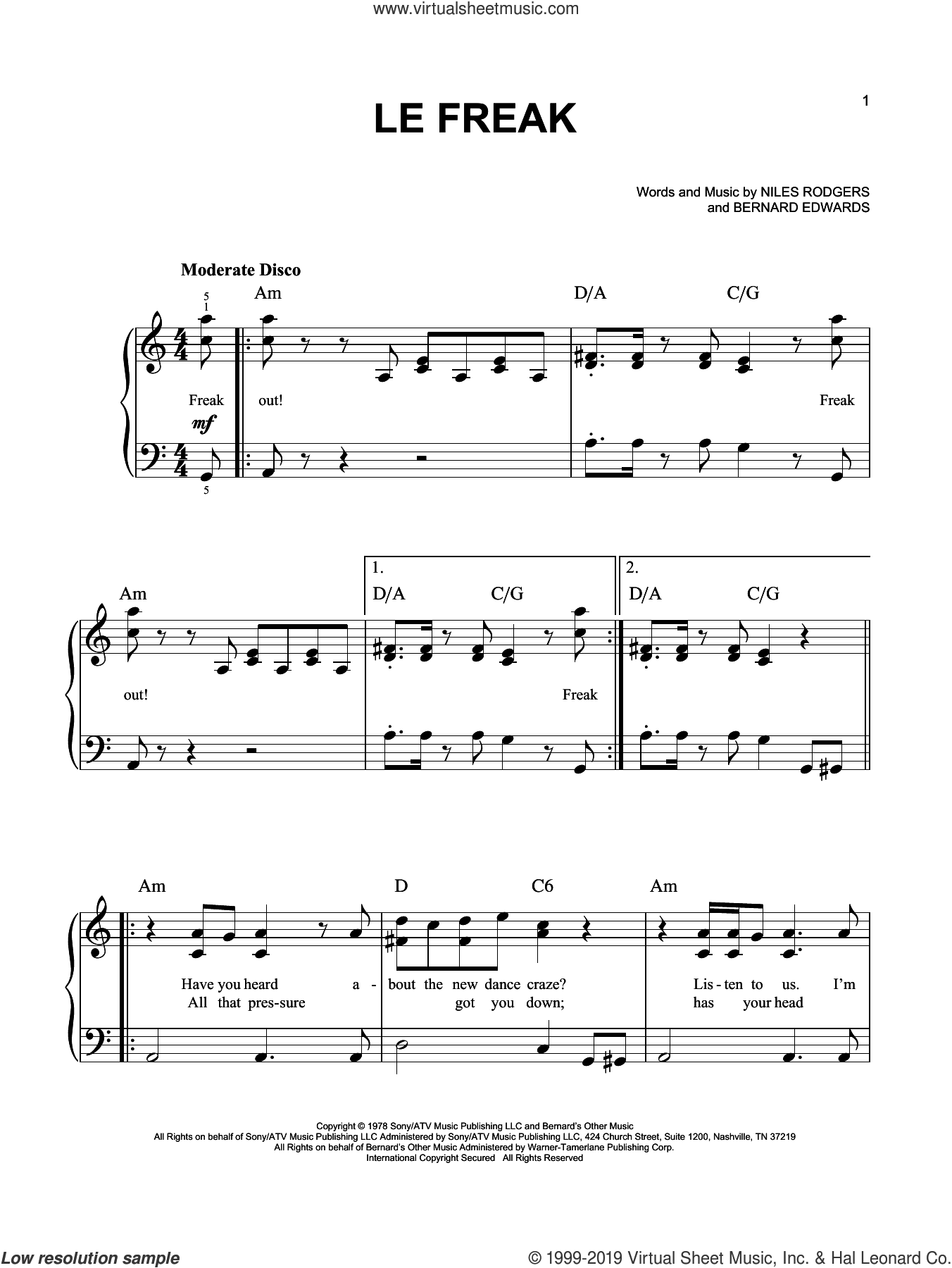 Le Freak sheet music for piano solo by Chic, Bernard Edwards and Nile Rodgers, easy skill level