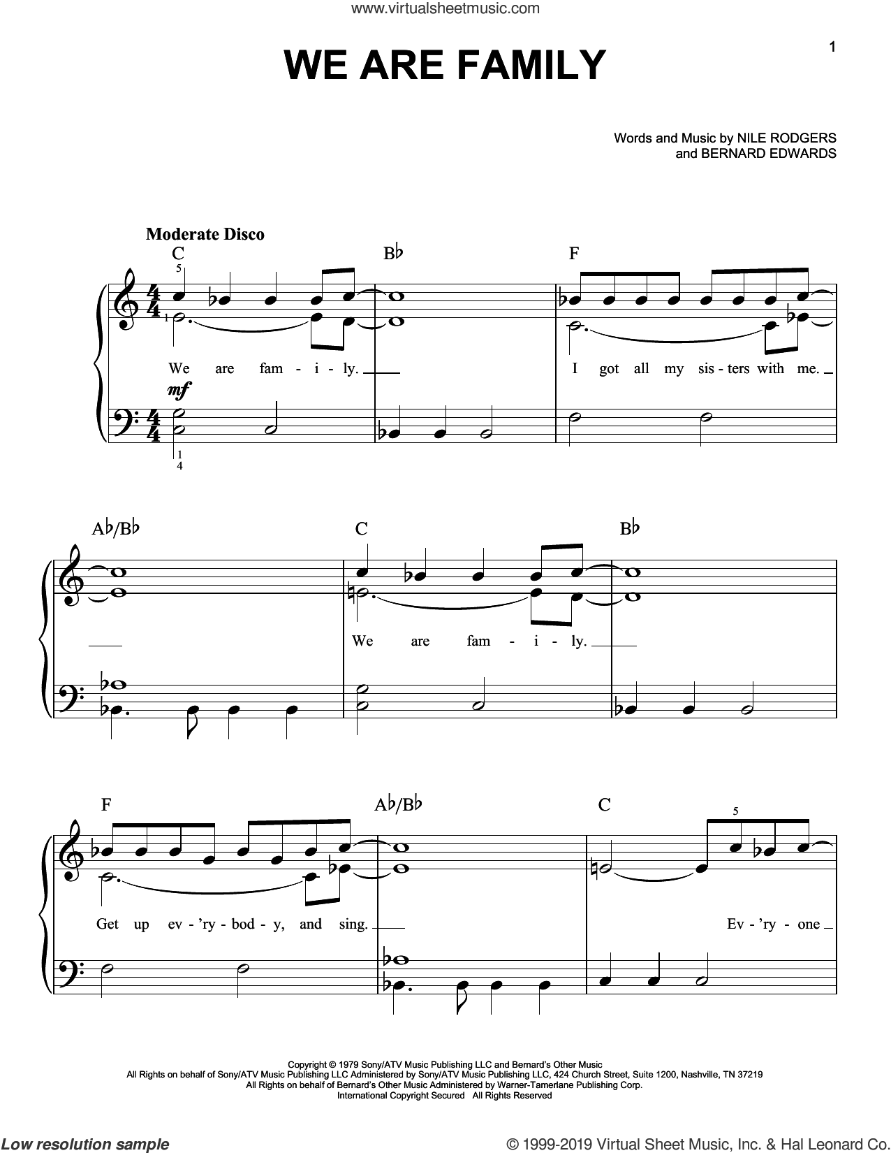 We Are Family sheet music for piano solo by Sister Sledge, Bernard Edwards and Nile Rodgers, easy skill level