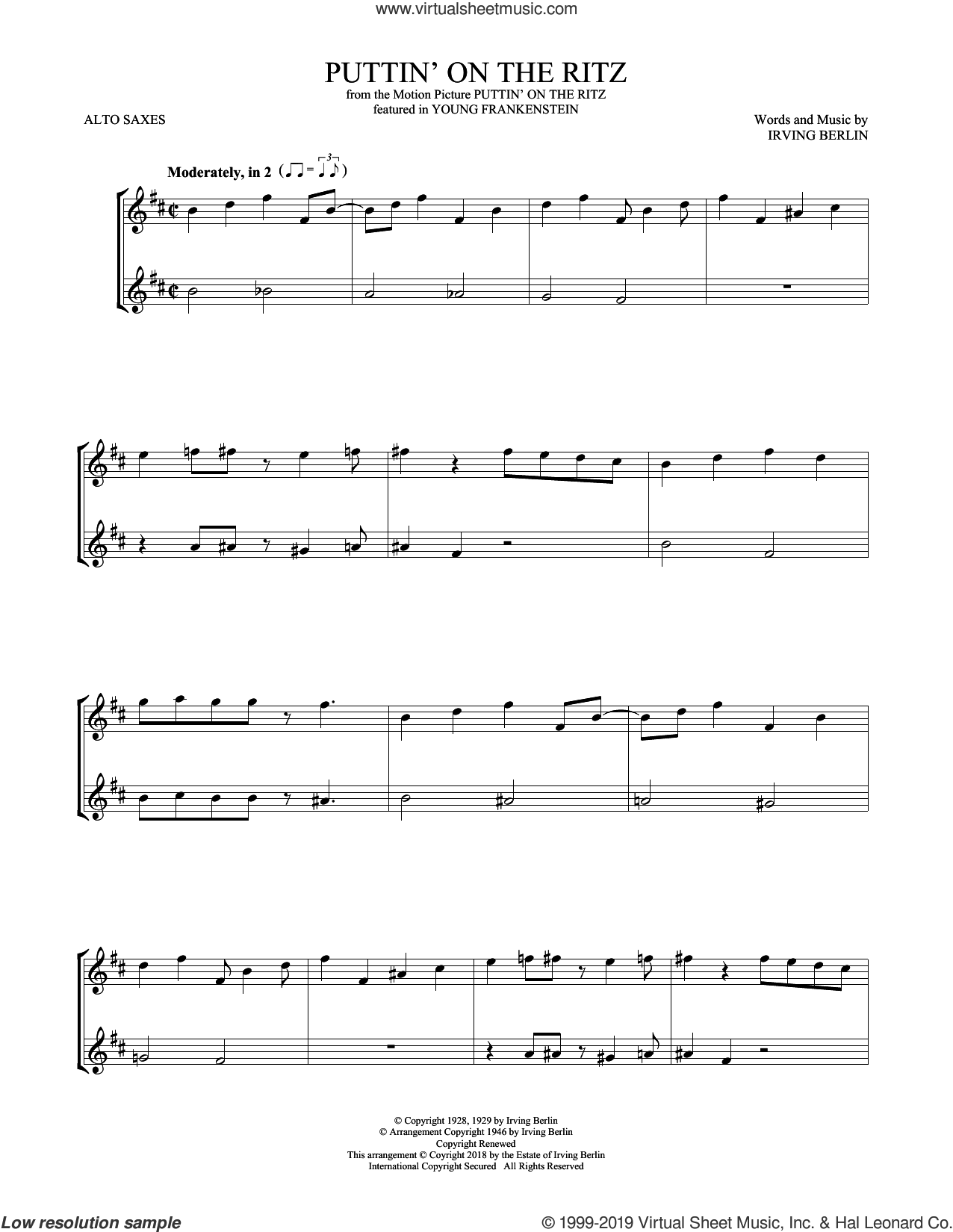Puttin' On The Ritz sheet music for two alto saxophones (duets) by Irving Berlin and Taco, intermediate skill level