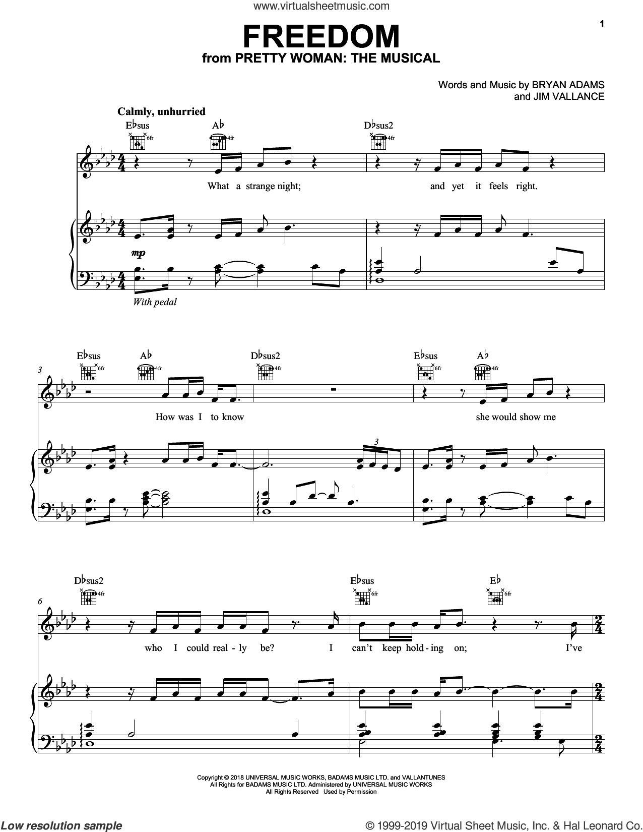Freedom (from Pretty Woman: The Musical) sheet music for voice, piano or guitar by Bryan Adams & Jim Vallance, intermediate skill level