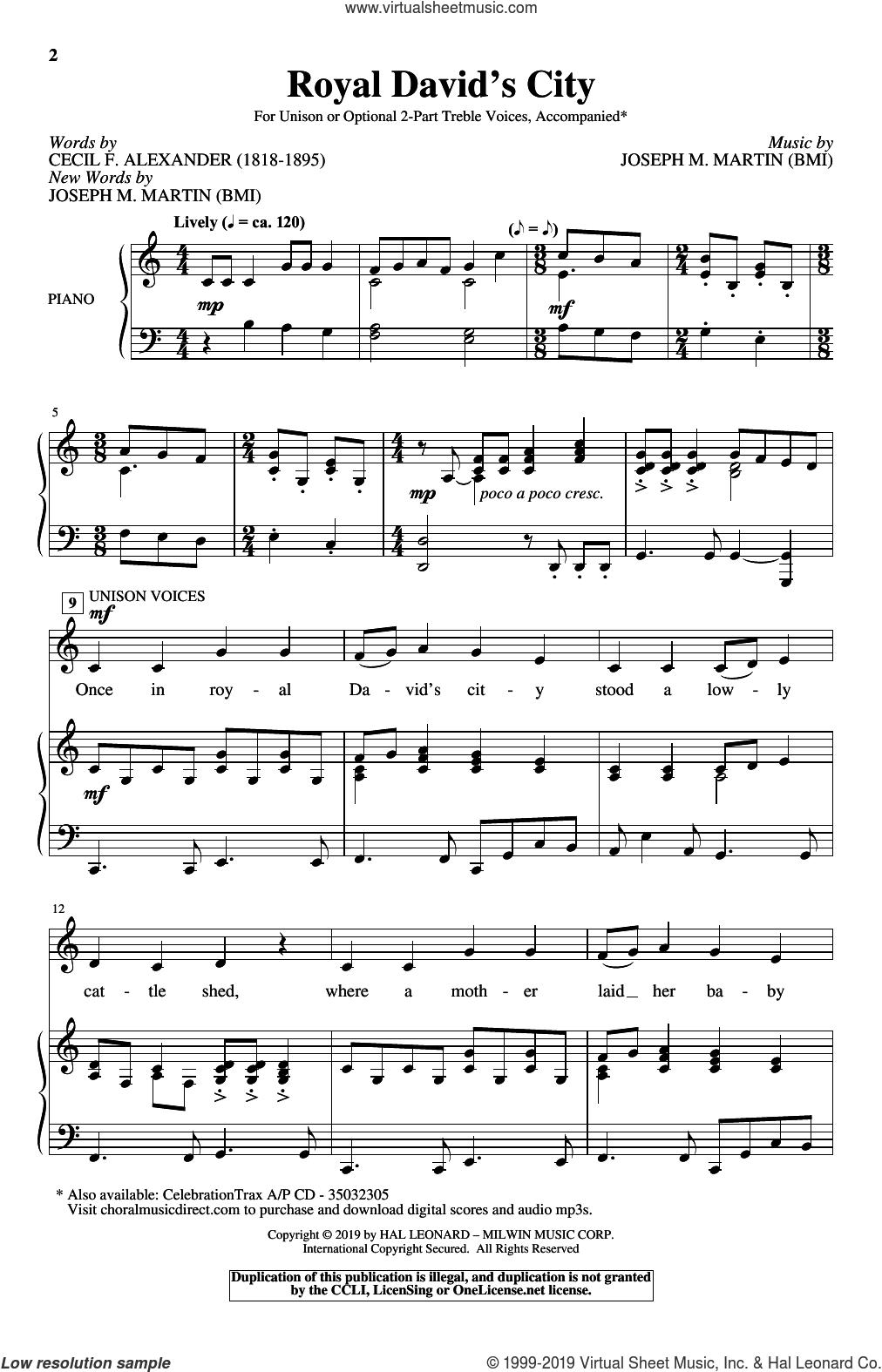 Royal David's City sheet music for choir (Unison/Optional 2-Part) by Joseph M. Martin and Cecil Alexander, intermediate skill level
