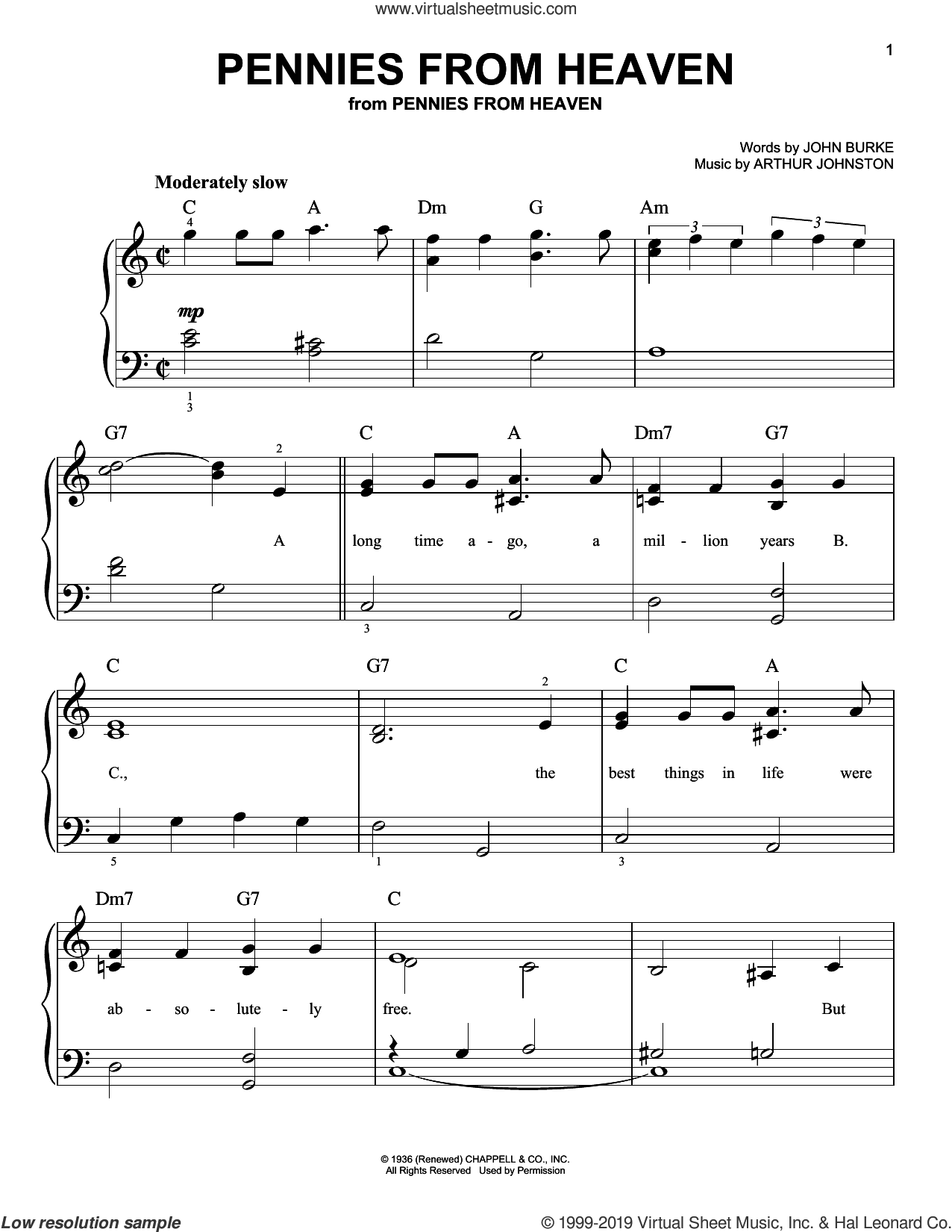 Pennies From Heaven sheet music for piano solo by John Burke and Arthur Johnston, easy skill level