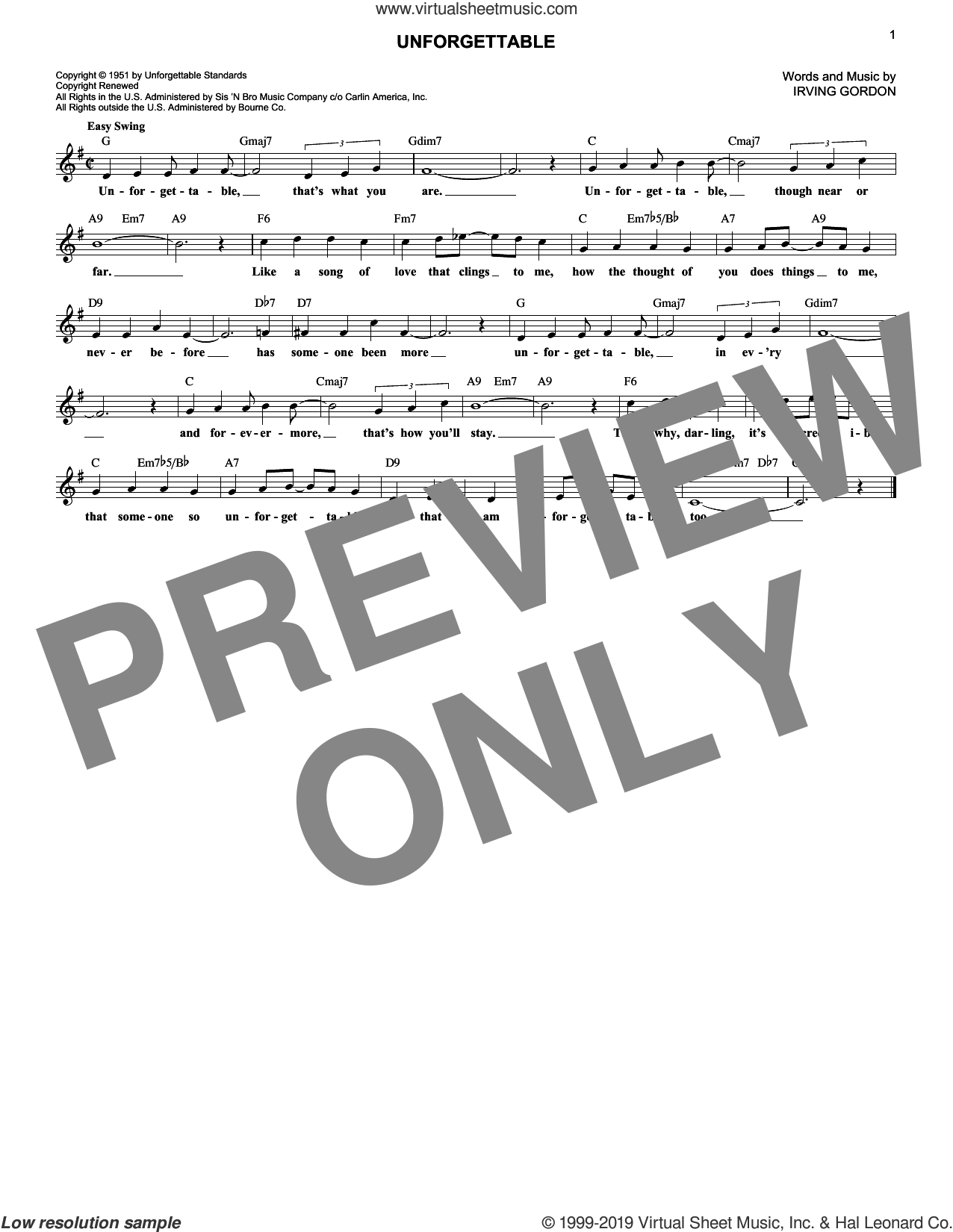 Unforgettable sheet music for voice and other instruments (fake book) by Irving Gordon, Dinah Washington and Natalie Cole, intermediate skill level