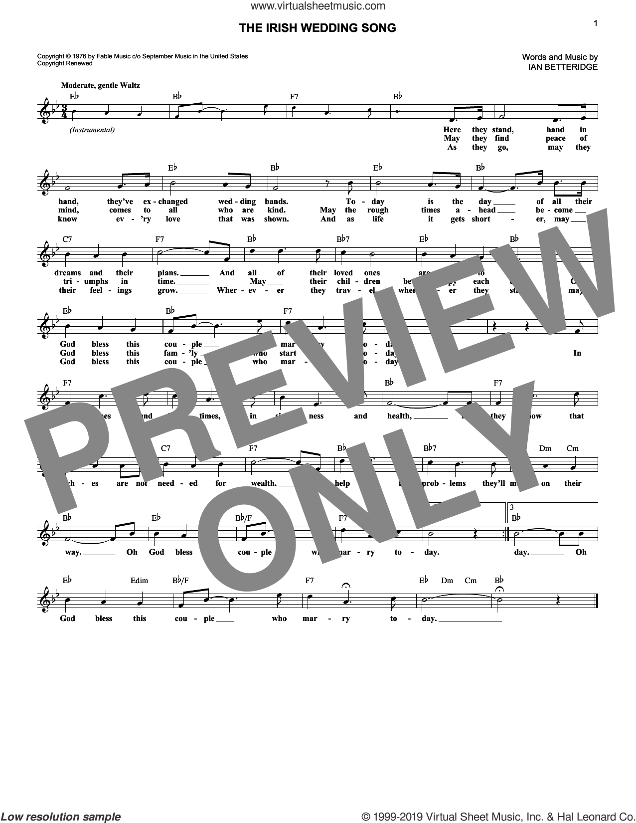 The Irish Wedding Song sheet music for voice and other instruments (fake book) by Ian Betteridge, wedding score, intermediate skill level