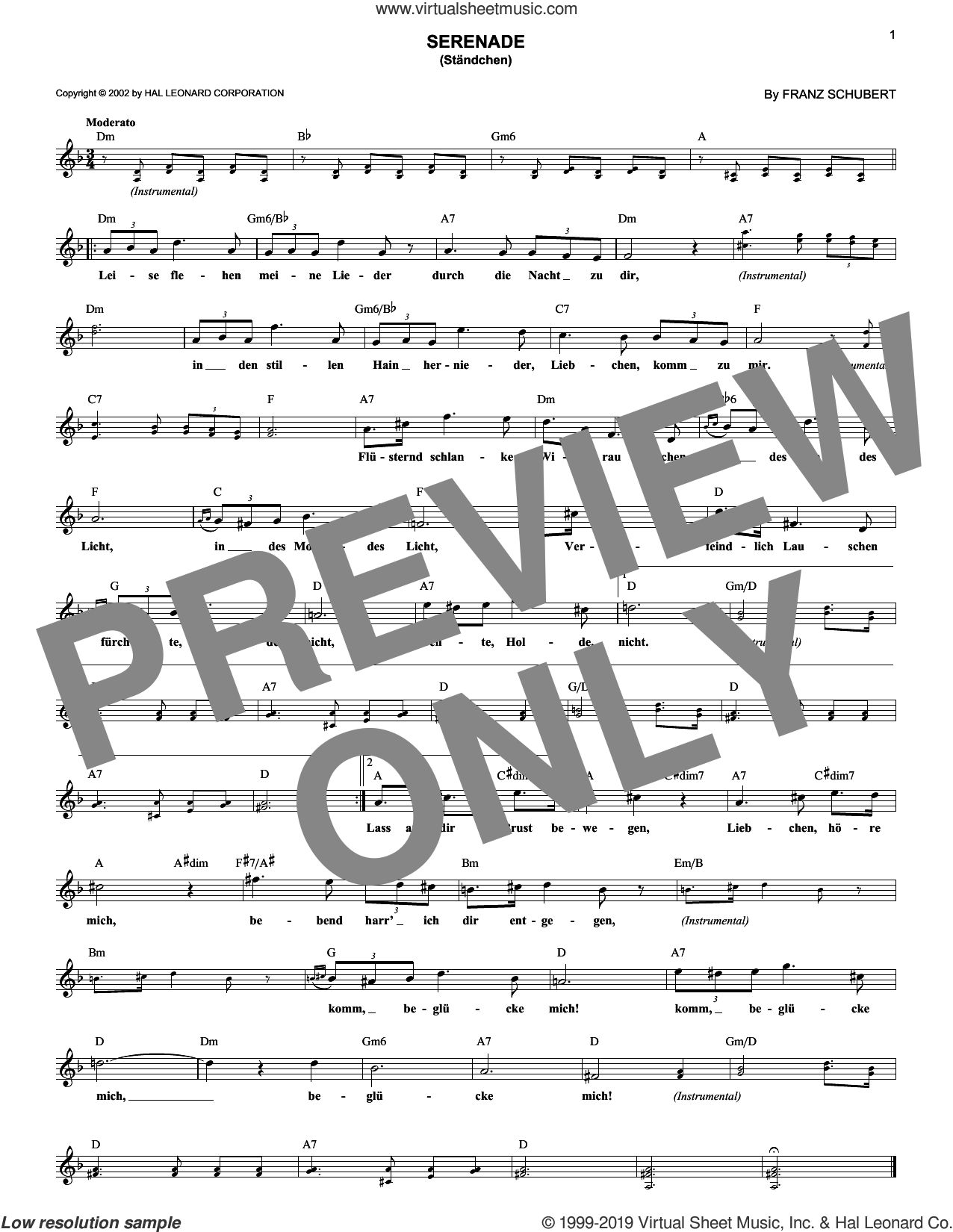 Serenade (Standchen) sheet music for voice and other instruments (fake book) by Franz Schubert, classical score, intermediate skill level