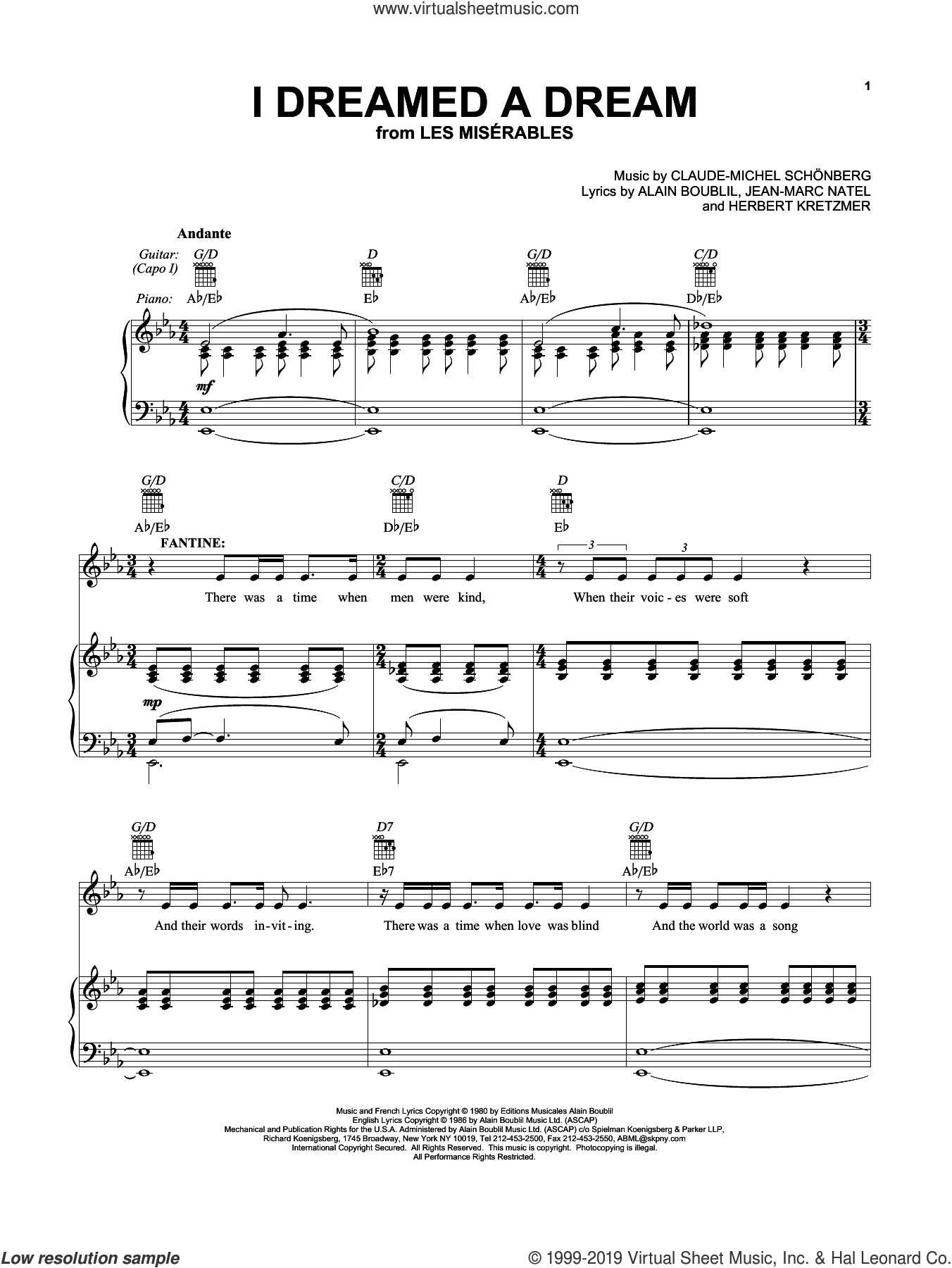 I Dreamed A Dream (from 'Les Miserables') sheet music for voice, piano or guitar by Alain Boublil, Susan Boyle, Claude-Michel Schonberg, Herbert Kretzmer and Jean-Marc Natel, intermediate skill level